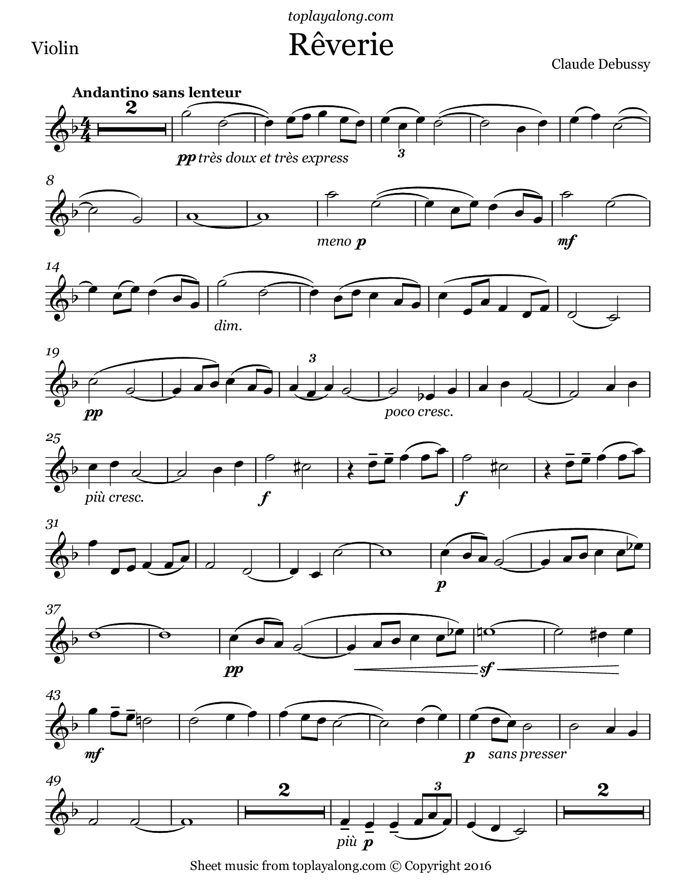 Rêverie by Debussy. Sheet music for Violin, page 1.