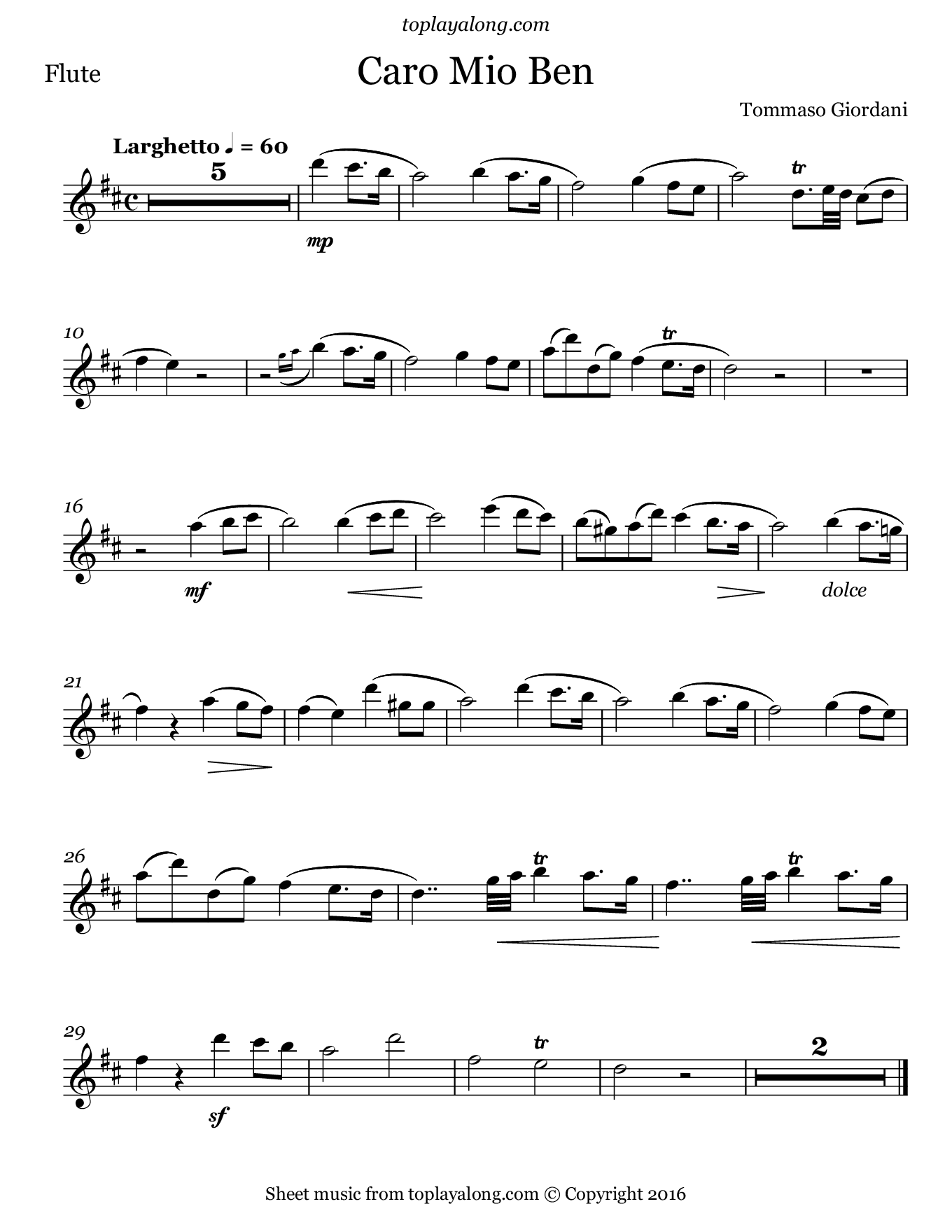 Caro mio ben by Giordani. Sheet music for Flute, page 1.
