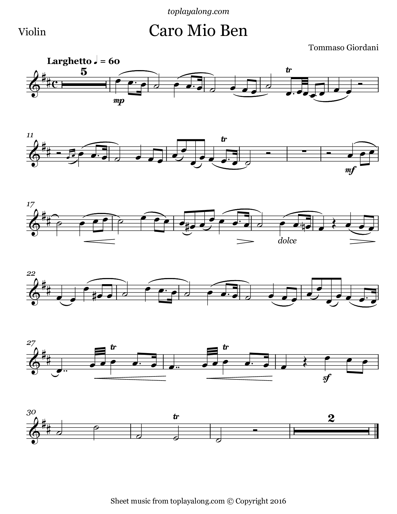 Caro mio ben by Giordani. Sheet music for Violin, page 1.