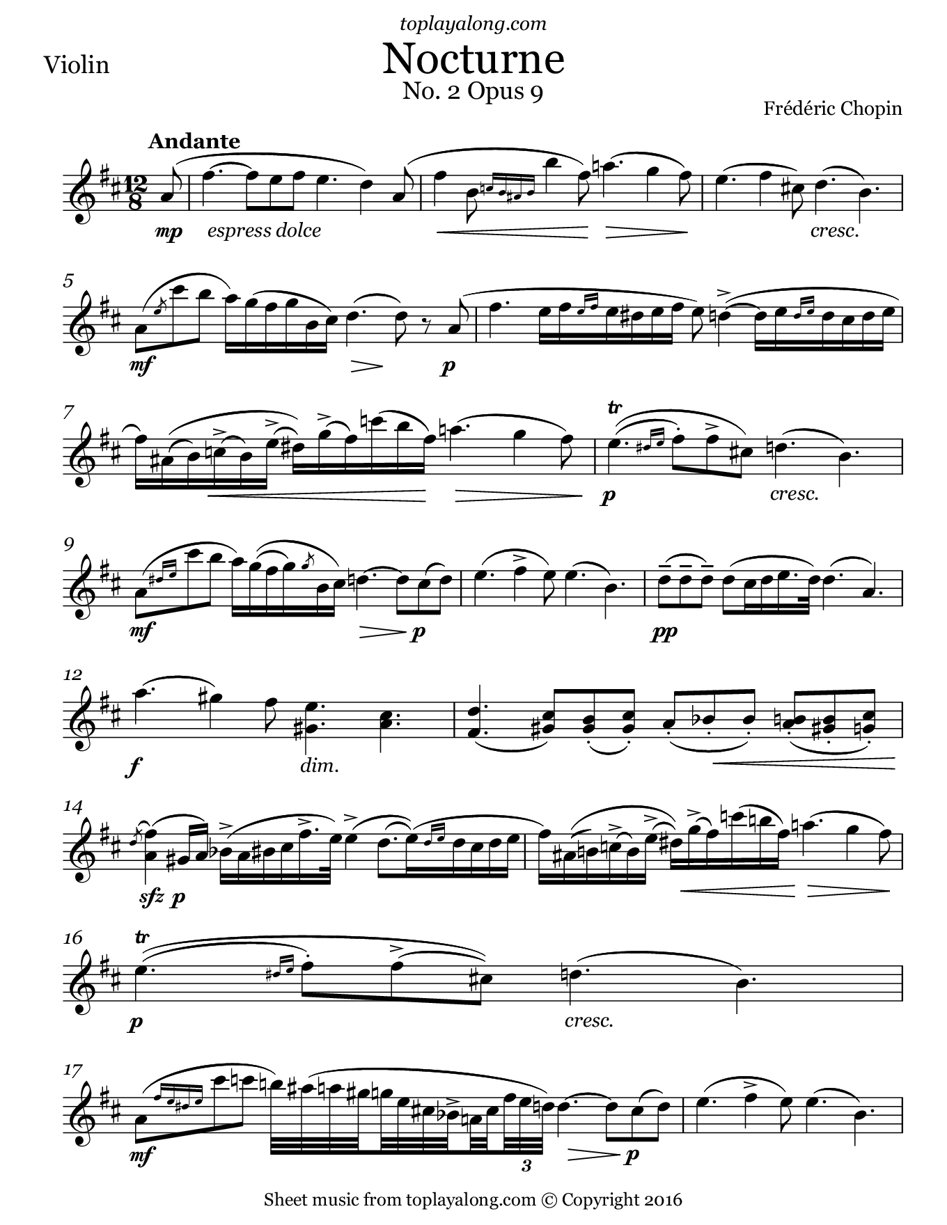 Nocturne No. 2 Op. 9 by Chopin. Sheet music for Violin, page 1.