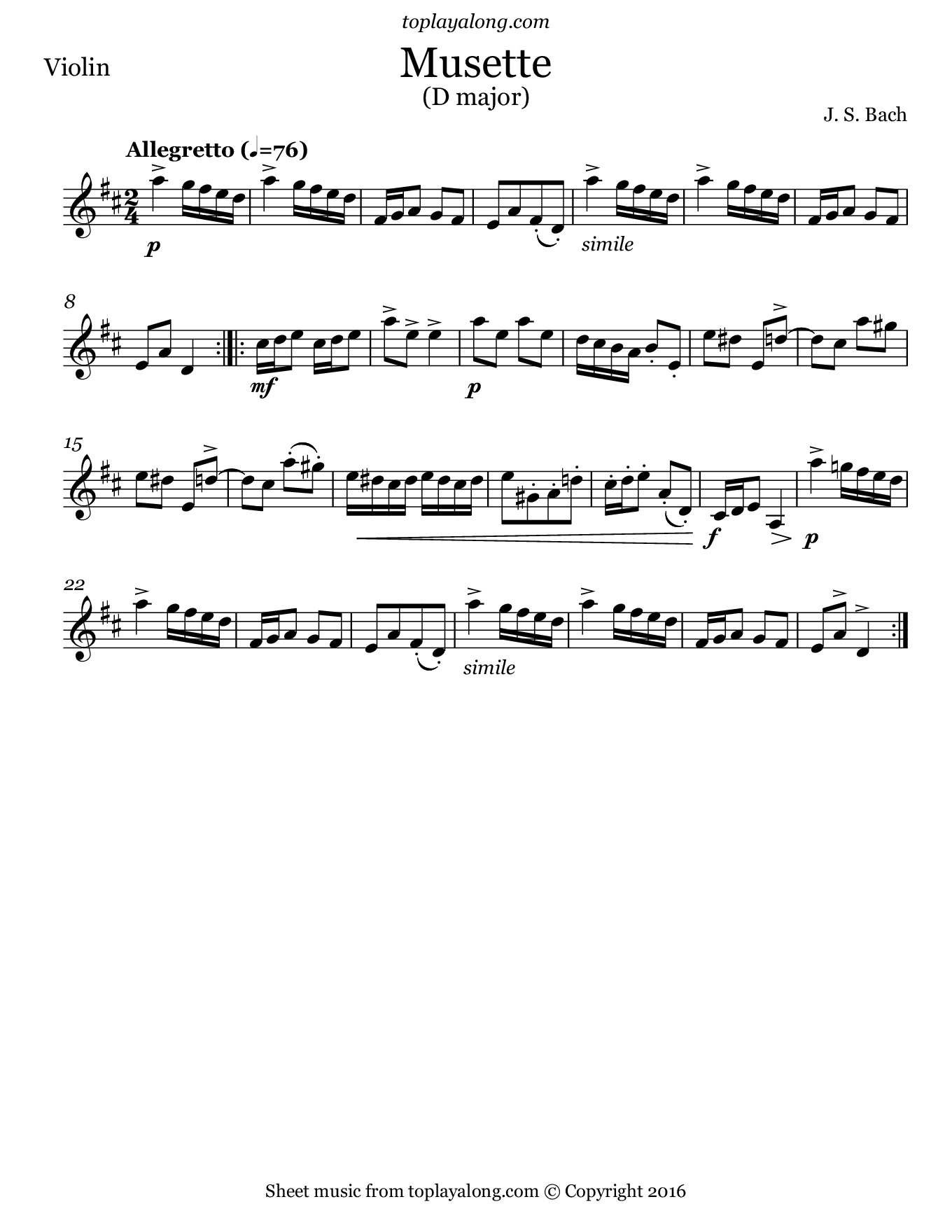 Musette in D major by J. S. Bach. Sheet music for Violin, page 1.