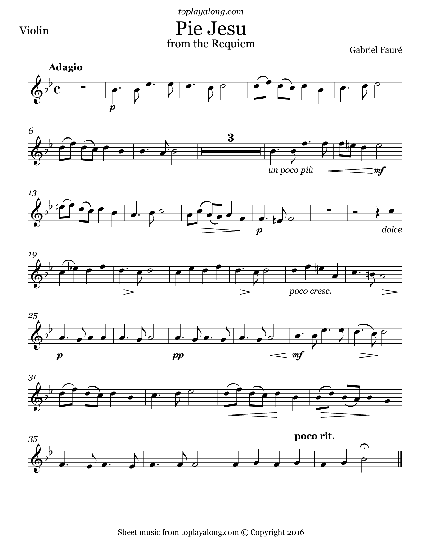 Pie Jesu from the Requiem by Fauré. Sheet music for Violin, page 1.