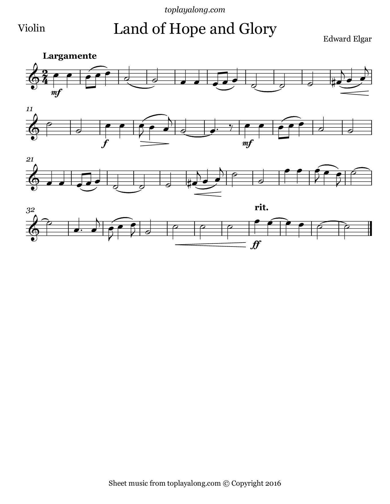 Land of Hope and Glory by Elgar. Sheet music for Violin, page 1.