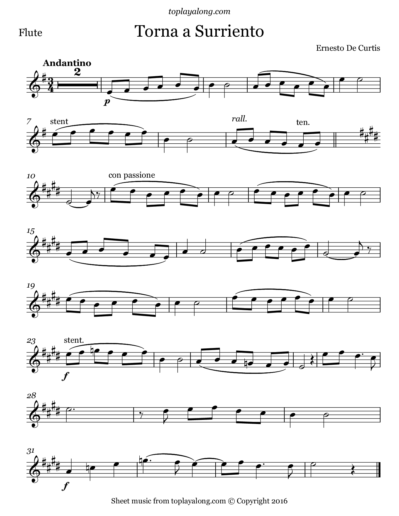 Torna a Surriento by Curtis. Sheet music for Flute, page 1.