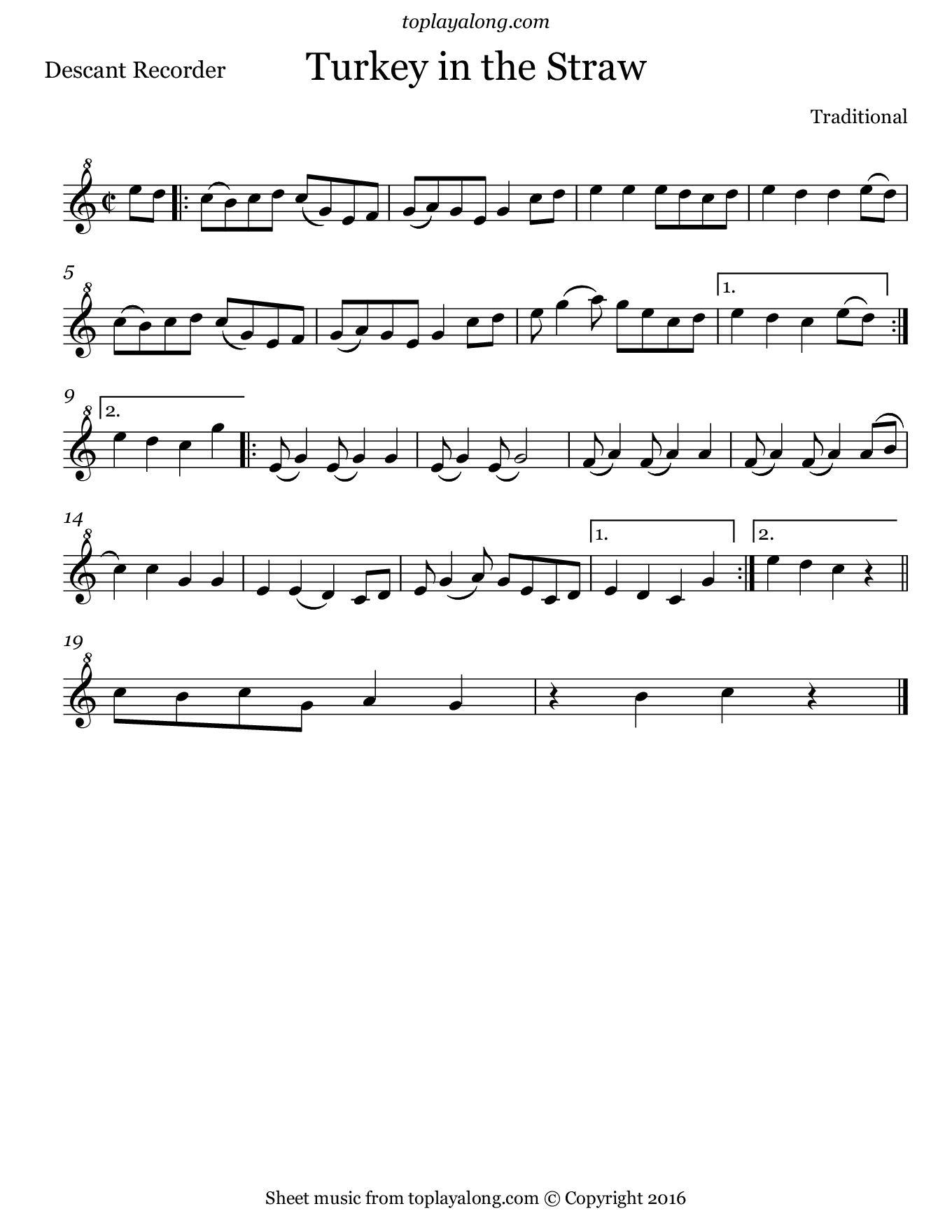 Turkey in the Straw. Sheet music for Recorder, page 1.