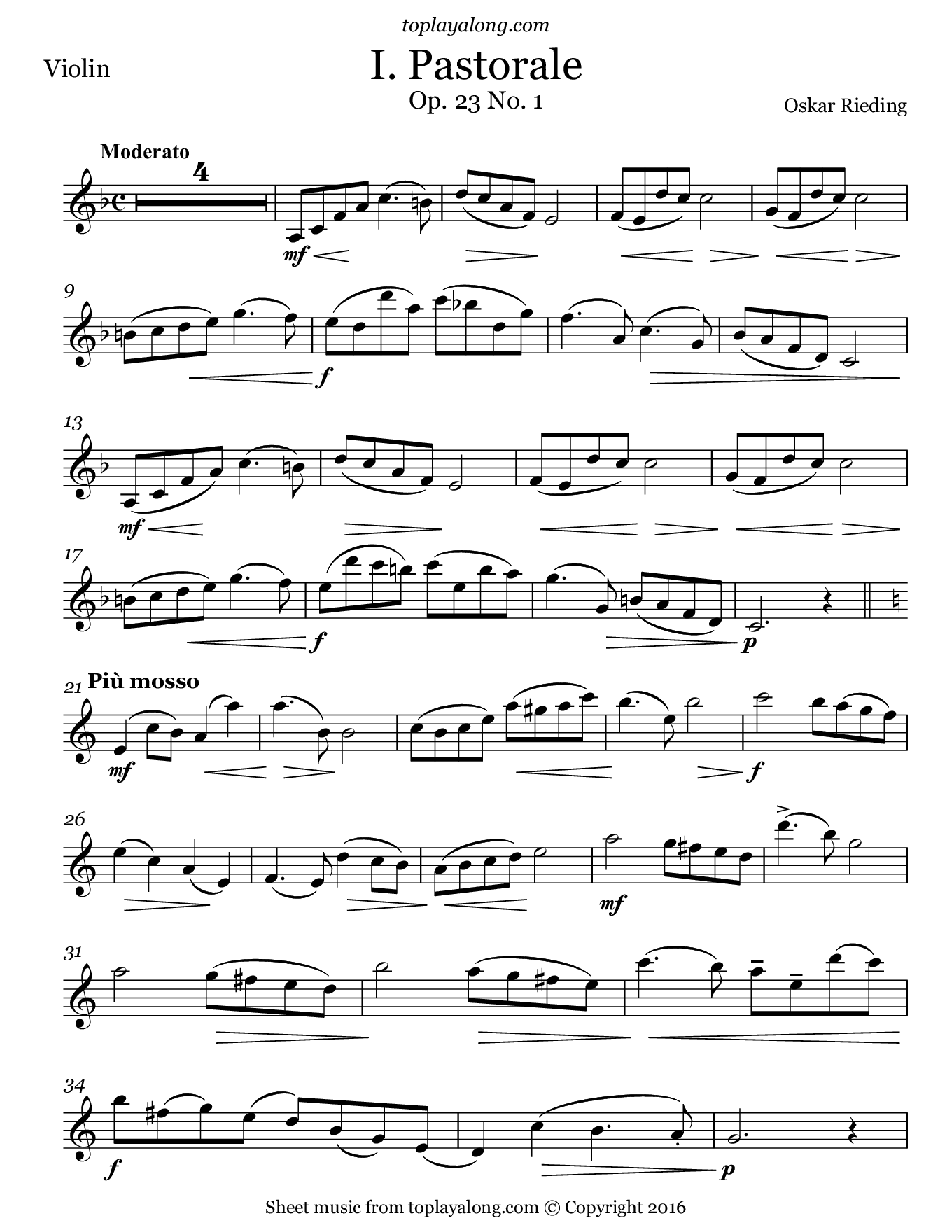 Pastorale Op. 23 No. 1 by Rieding. Sheet music for Violin, page 1.