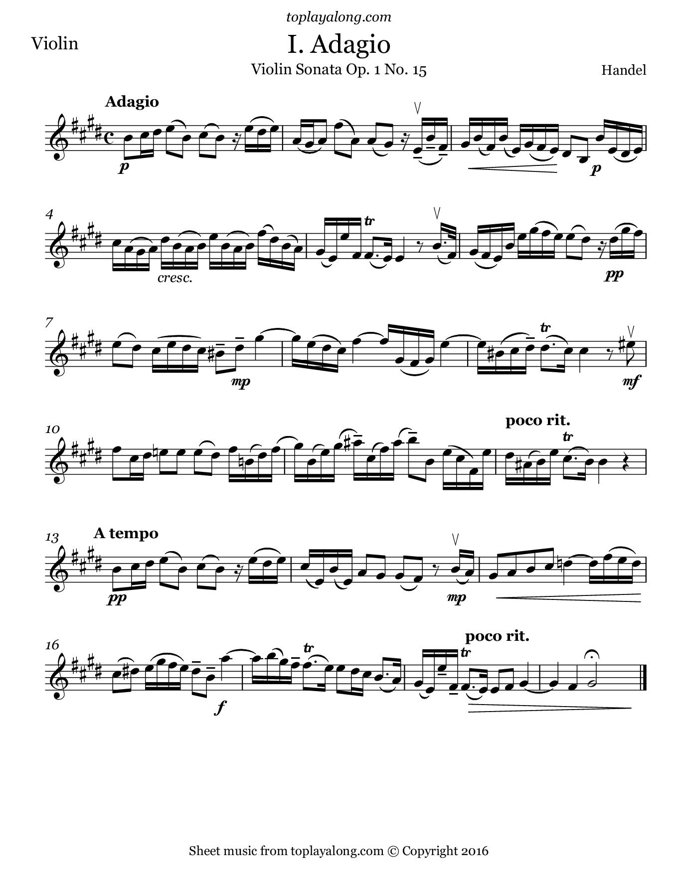 Violin Sonata Op. 1 No. 15 (I. Adagio) by Handel. Sheet music for Violin, page 1.