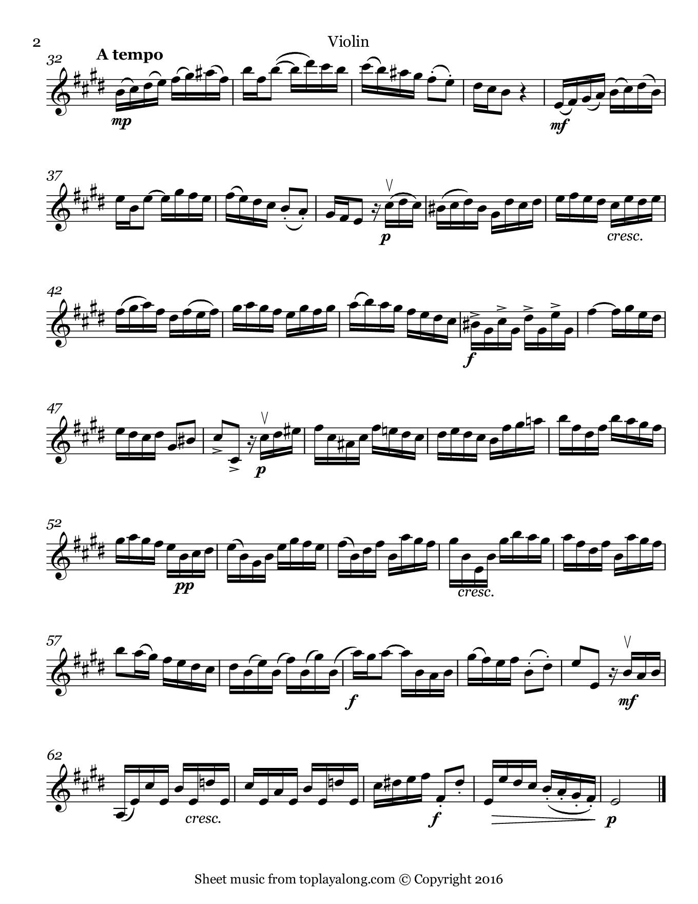 Violin Sonata Op. 1 No. 15 (II. Allegro) by Handel. Sheet music for Violin, page 2.