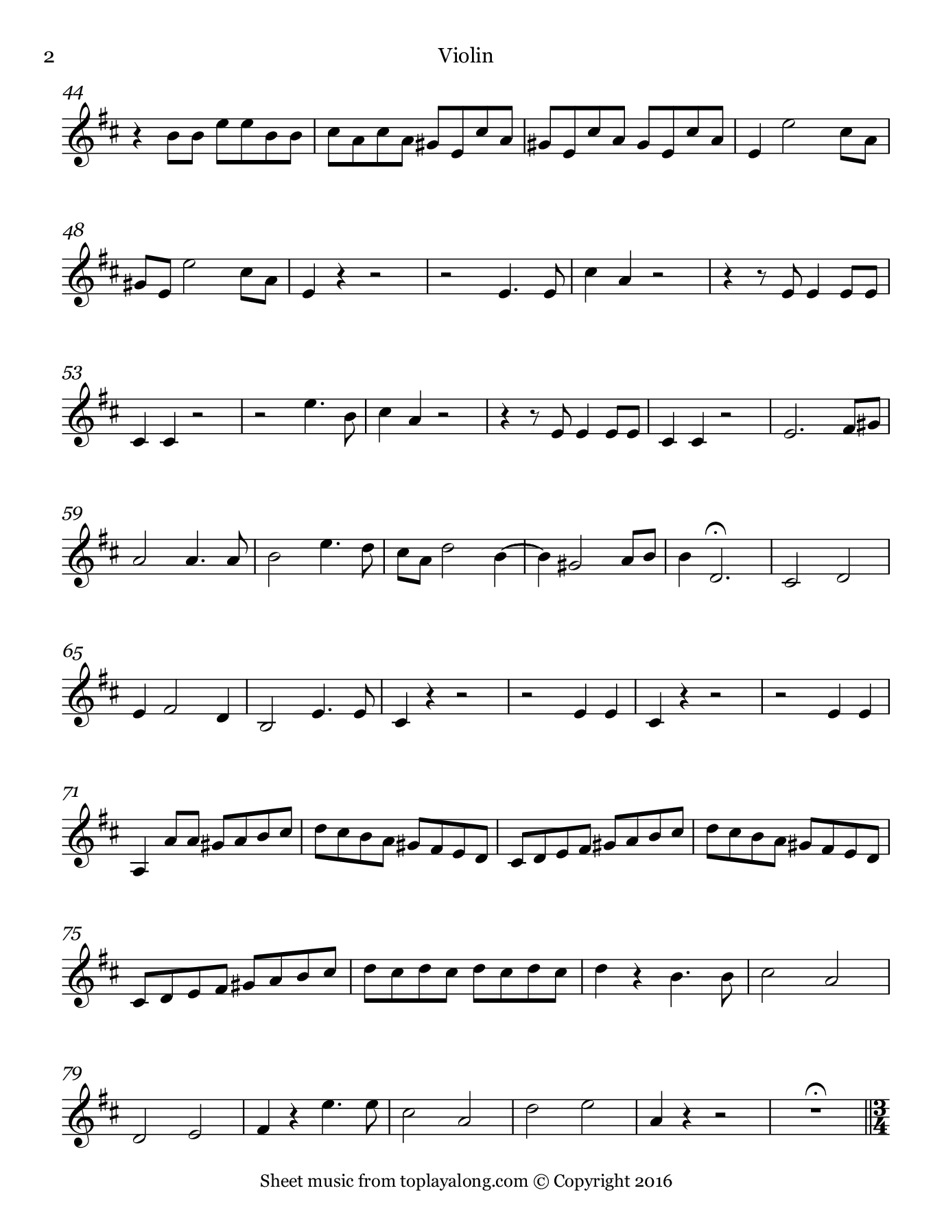 Madamina from Don Giovanni by Mozart. Sheet music for Violin, page 2.