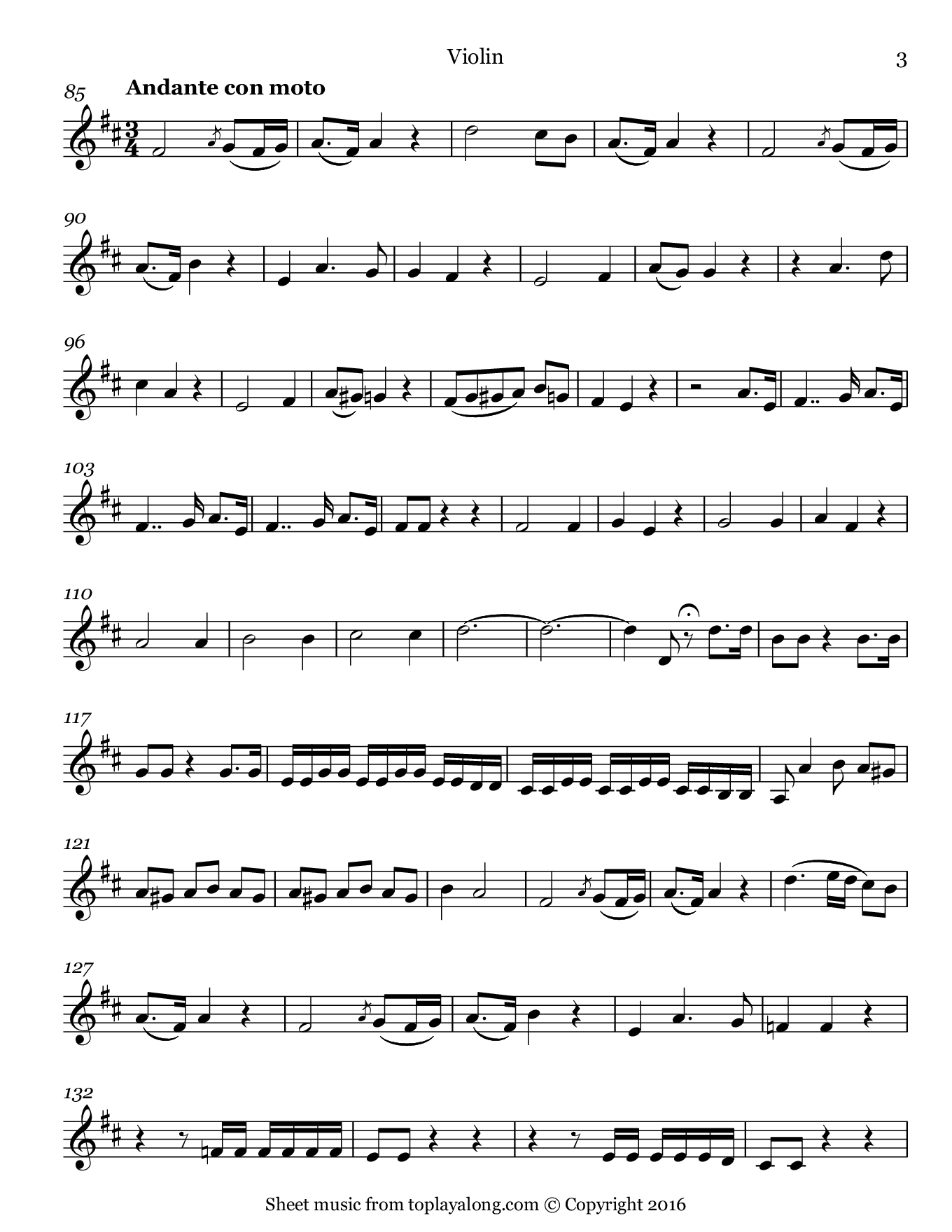 Madamina from Don Giovanni by Mozart. Sheet music for Violin, page 3.