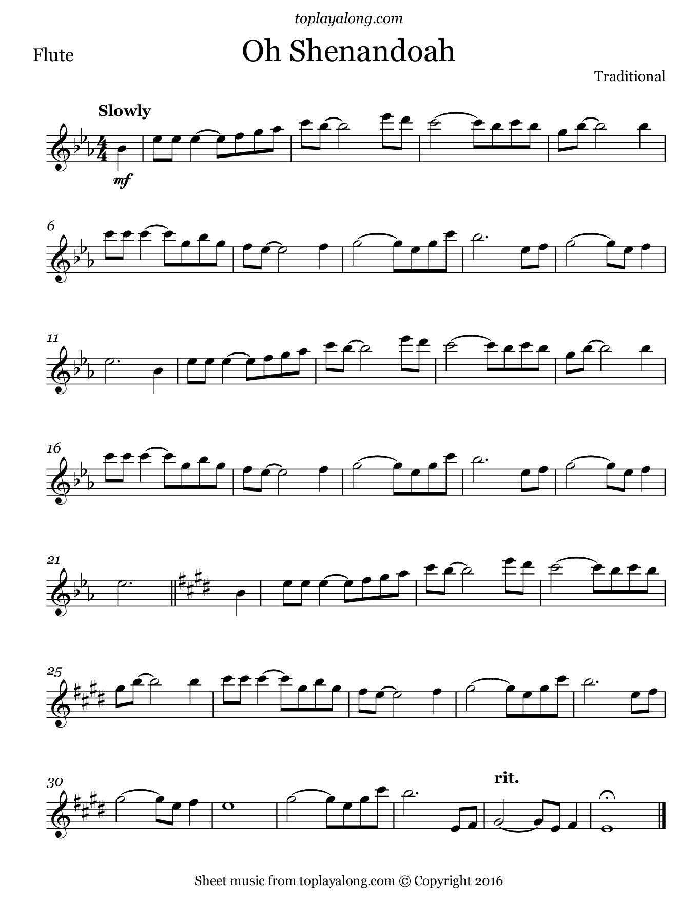 Oh Shenandoah. Sheet music for Flute, page 1.