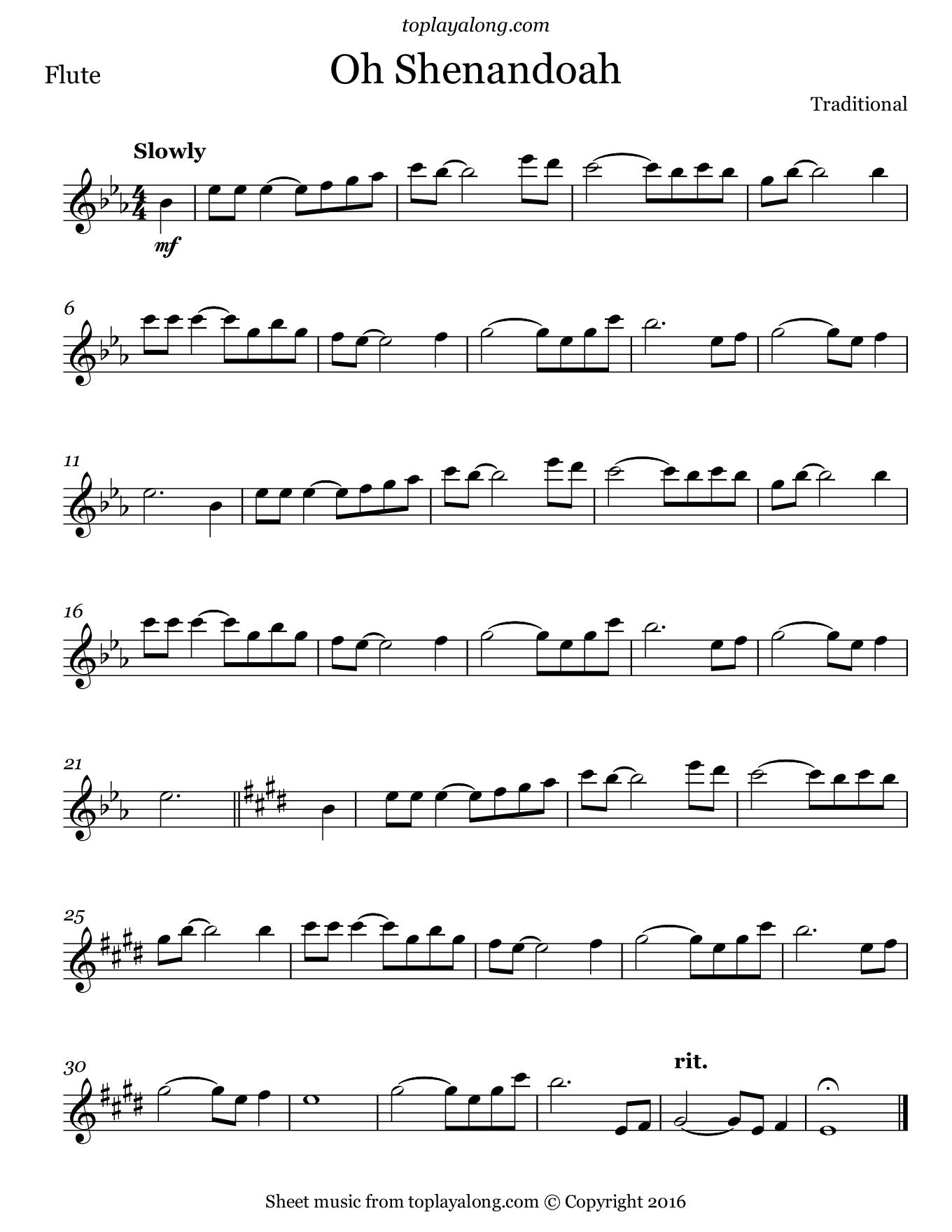 Oh Shenandoah. Sheet music for Flute, page 1.