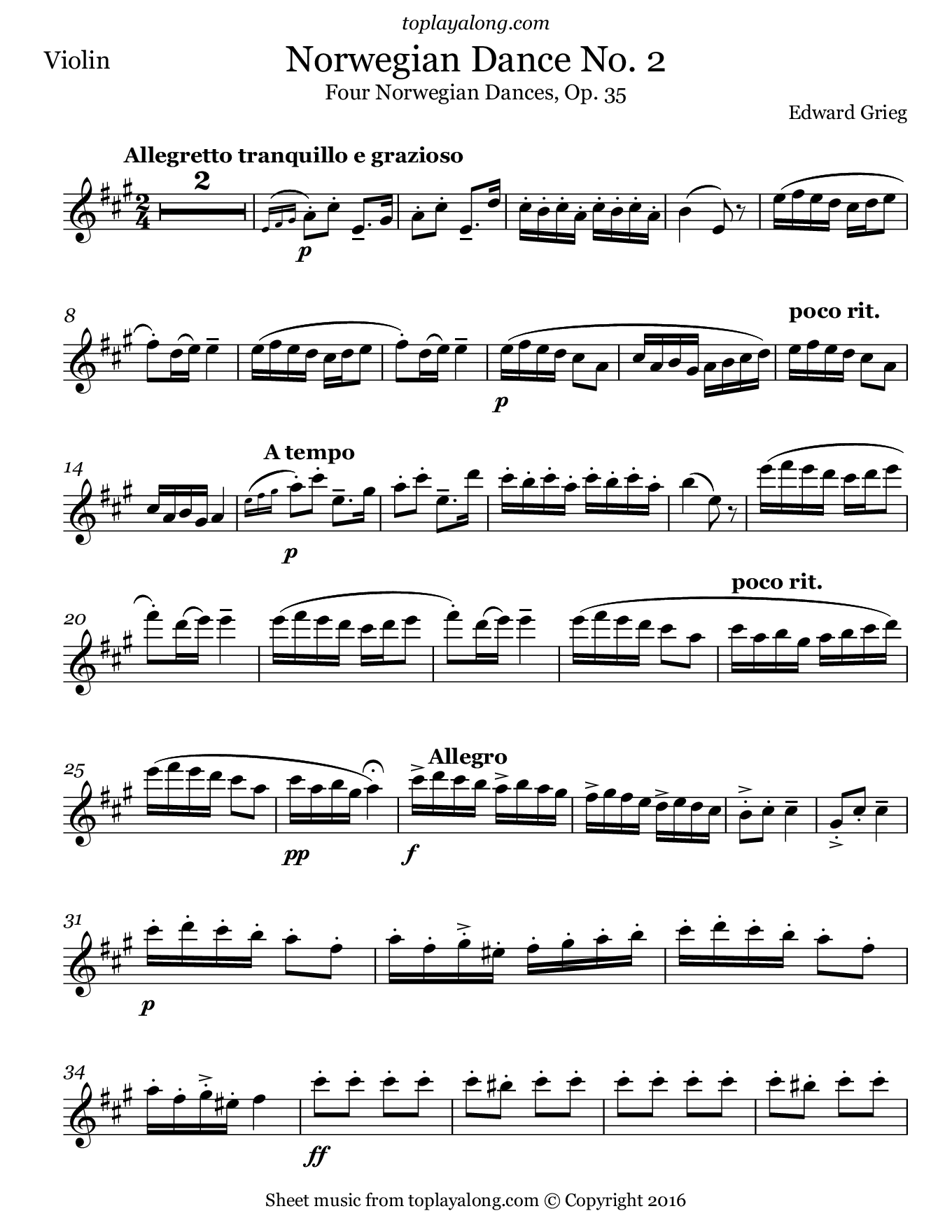 Norwegian Dance No. 2 by Grieg. Sheet music for Violin, page 1.