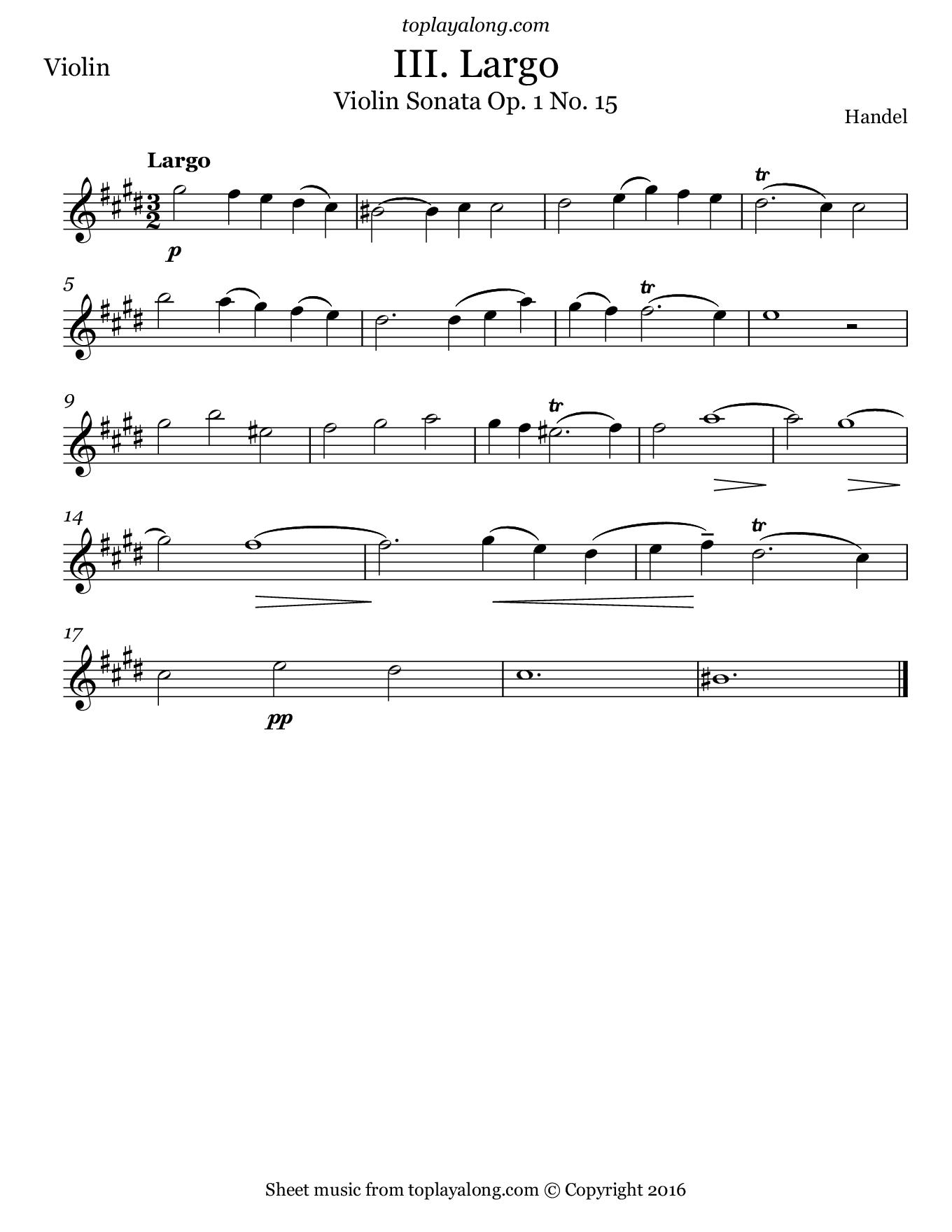Violin Sonata Op. 1 No. 15 (III. Largo) by Handel. Sheet music for Violin, page 1.