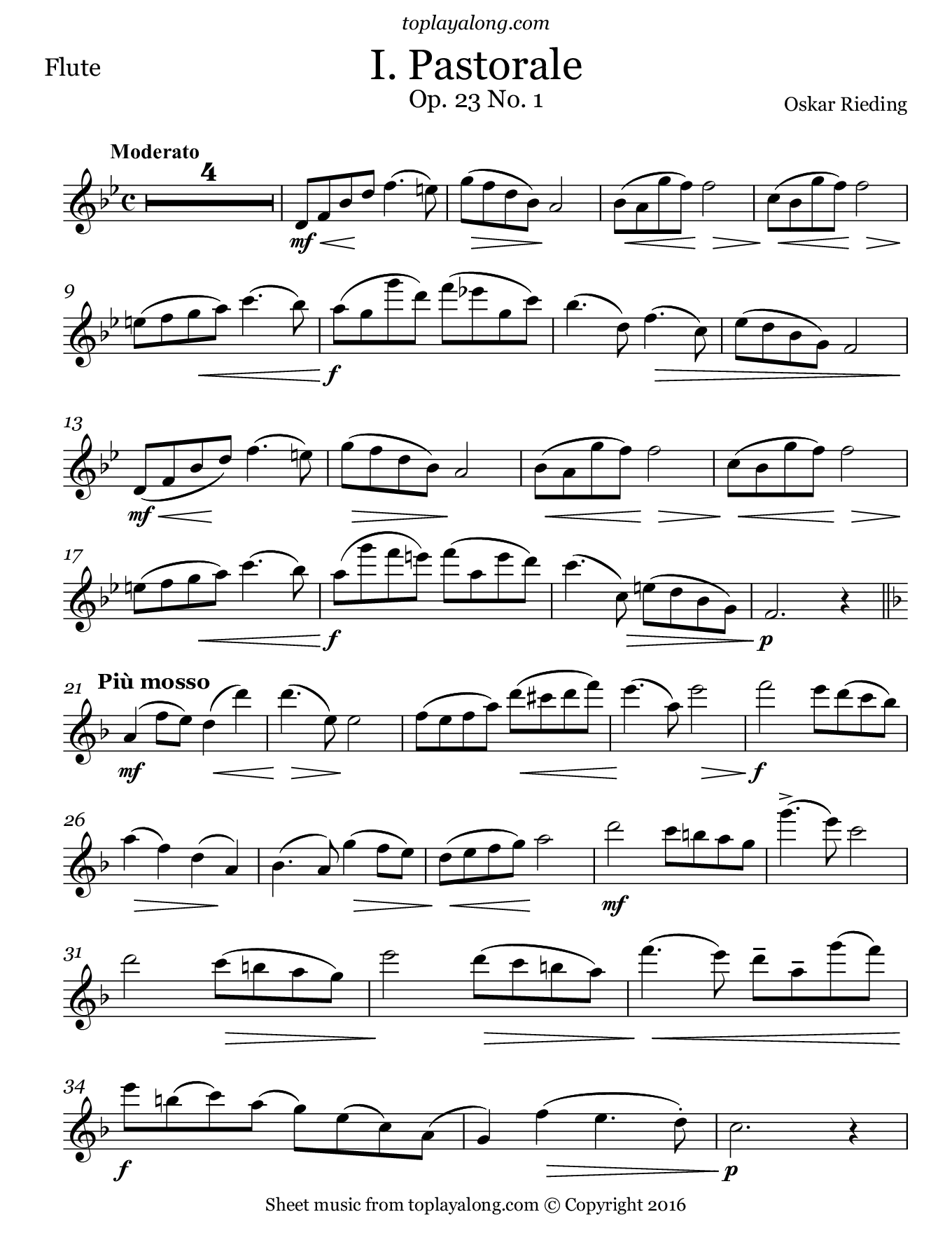 Pastorale Op. 23 No. 1 by Rieding. Sheet music for Flute, page 1.