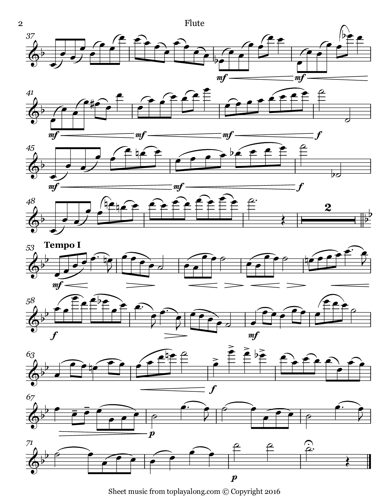 Pastorale Op. 23 No. 1 by Rieding. Sheet music for Flute, page 2.