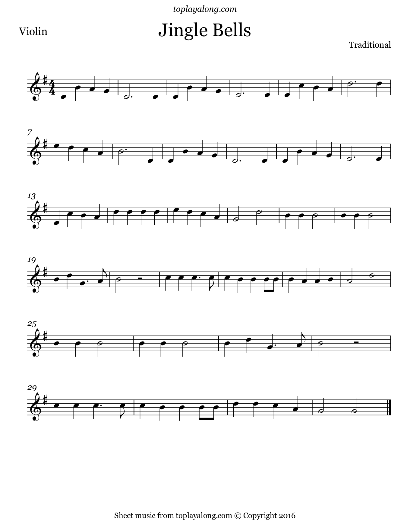 Jingle Bells. Sheet music for Violin, page 1.