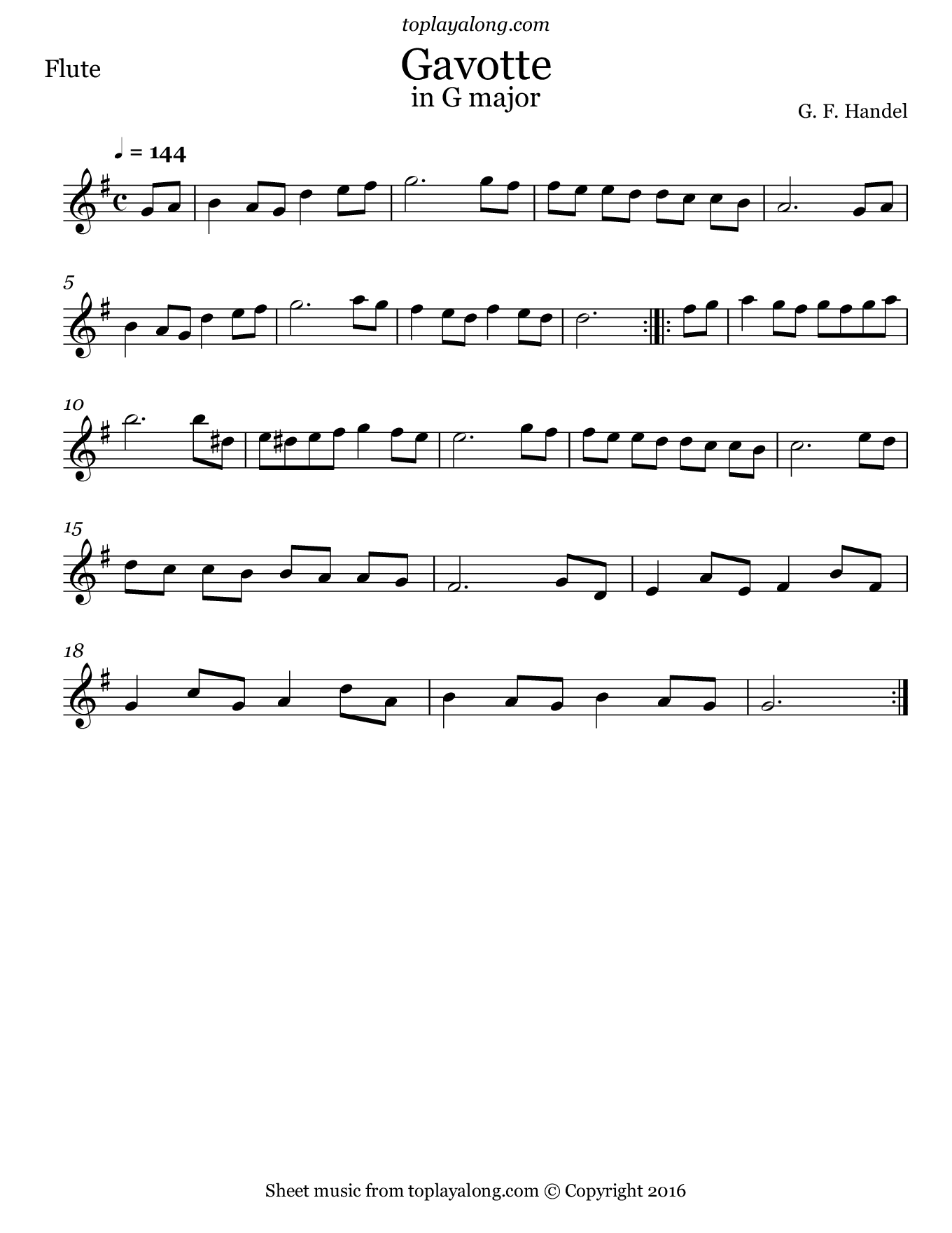 Gavotte in G major by Handel. Sheet music for Flute, page 1.