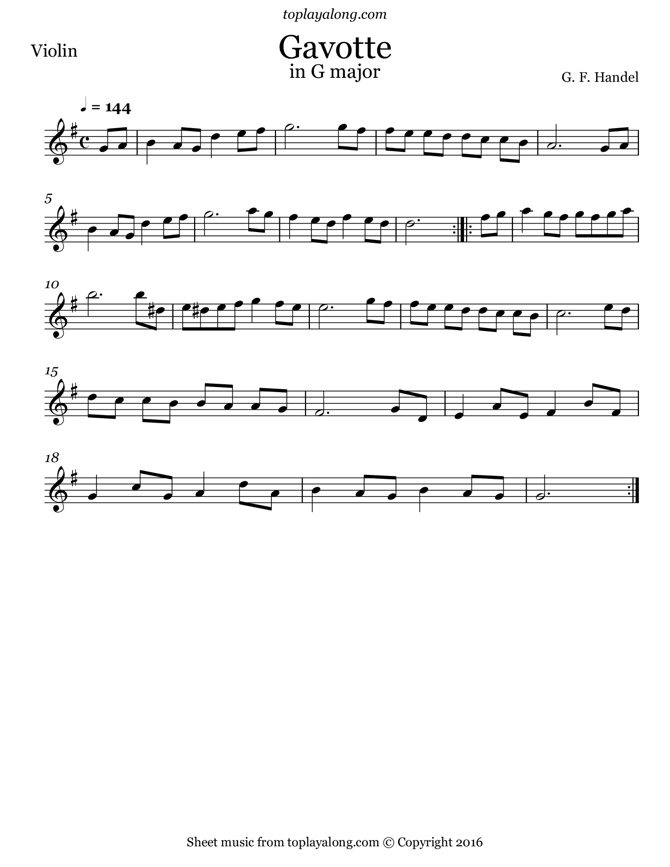 Gavotte in G major by Handel. Sheet music for Violin, page 1.