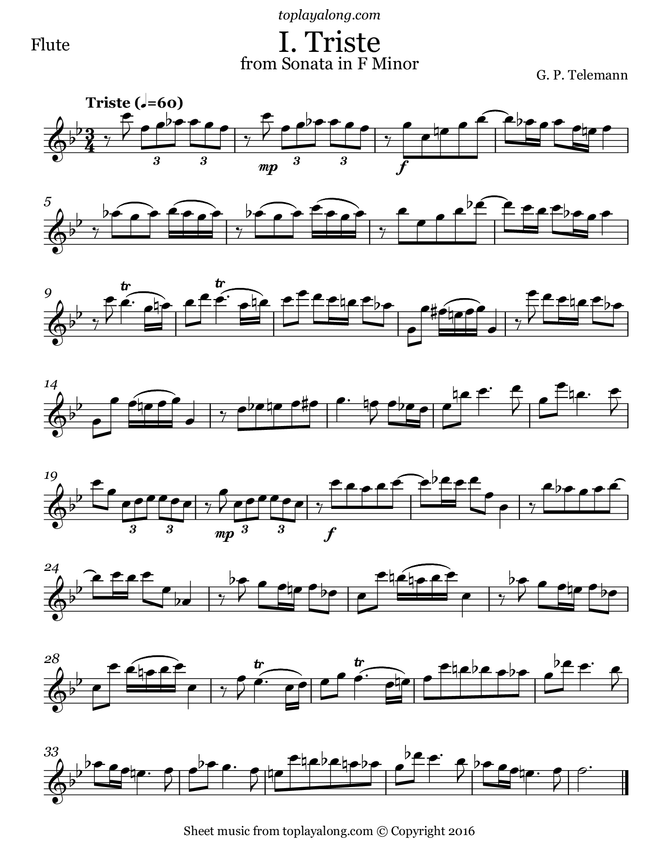 Sonata in F minor (I. Triste) by Telemann. Sheet music for Flute, page 1.