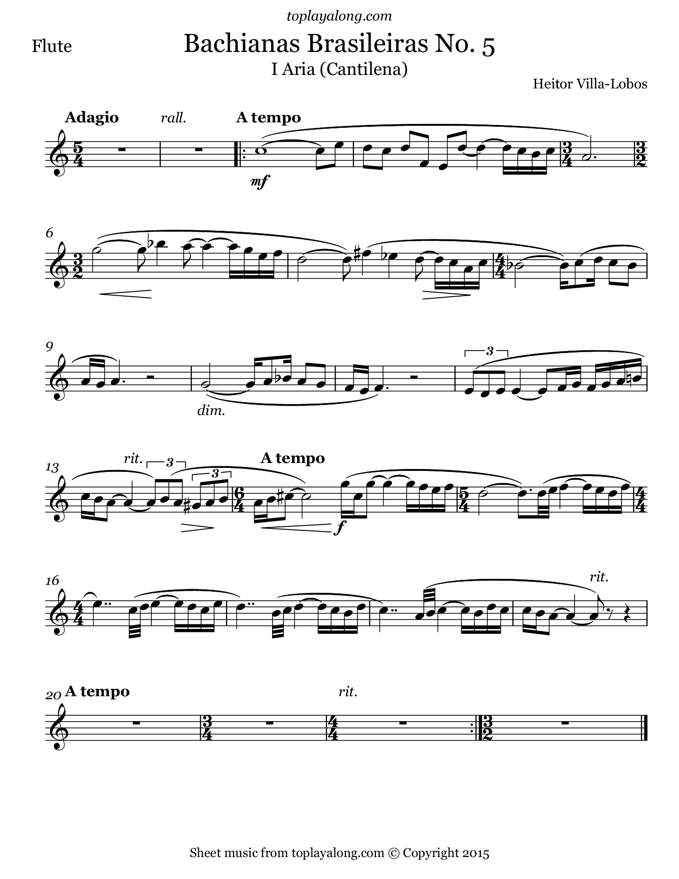 Bachianas Brasileiras No.5 by Villa-Lobos. Sheet music for Flute, page 1.