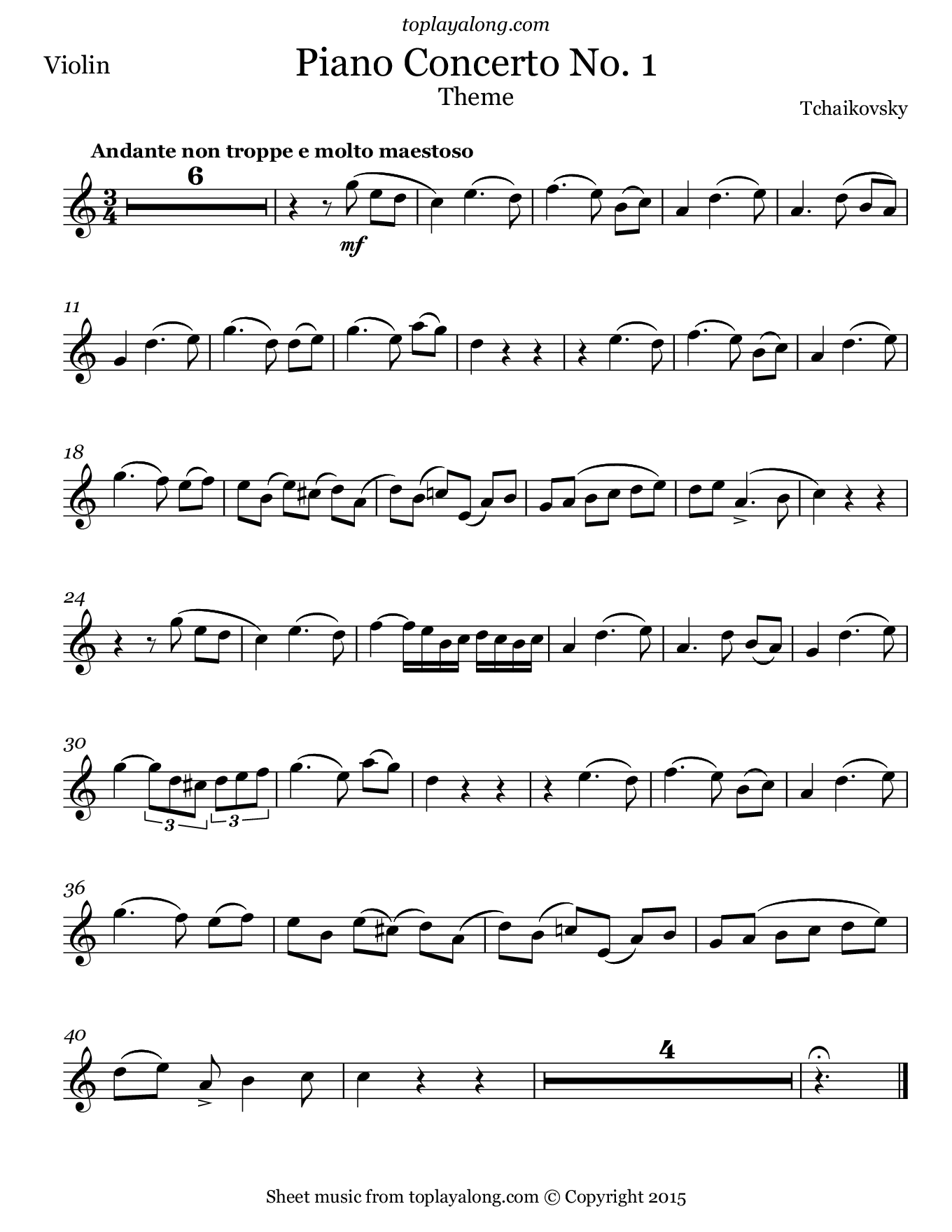 Piano Concerto No. 1 (Theme) by Tchaikovsky. Sheet music for Violin, page 1.