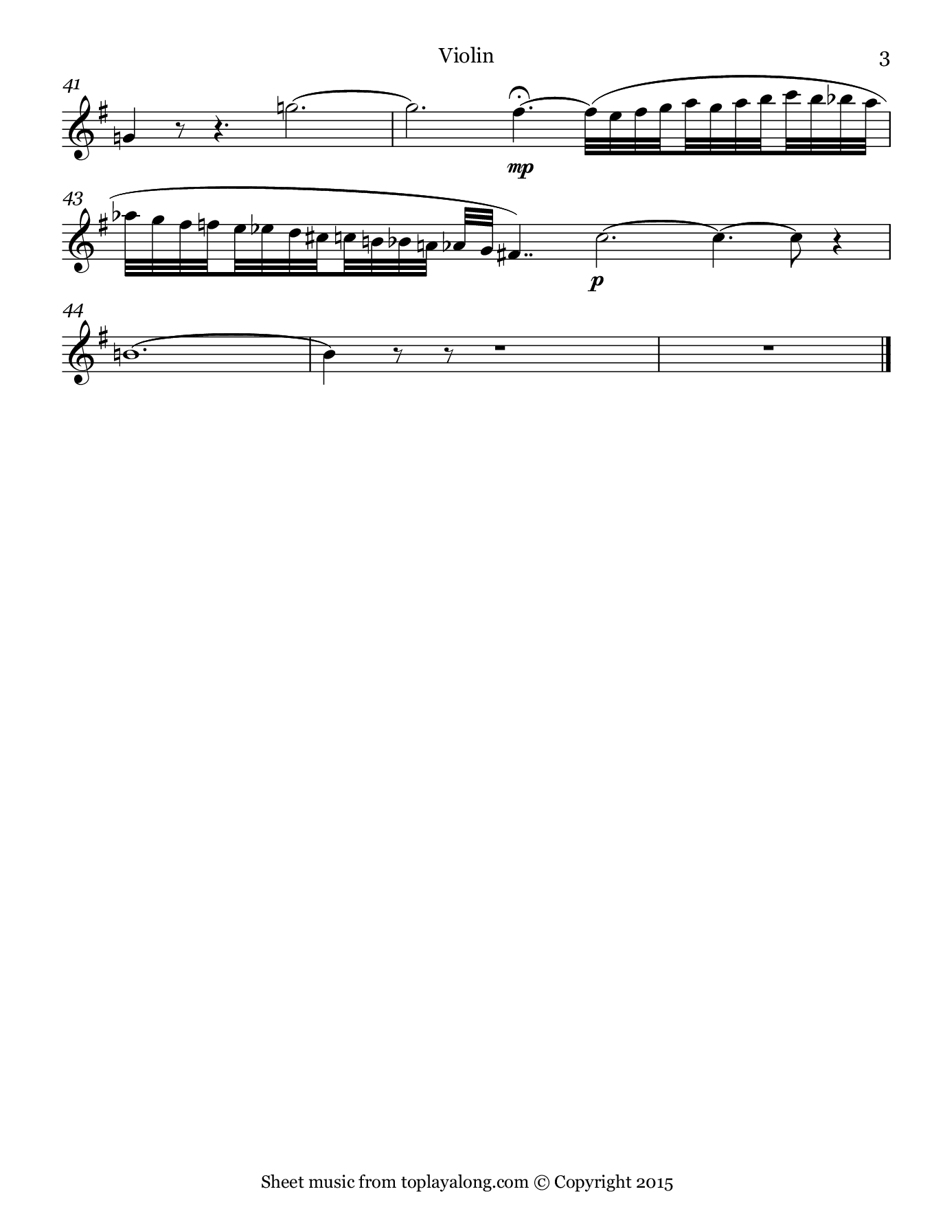 Casta Diva from Norma by Bellini. Sheet music for Violin, page 3.