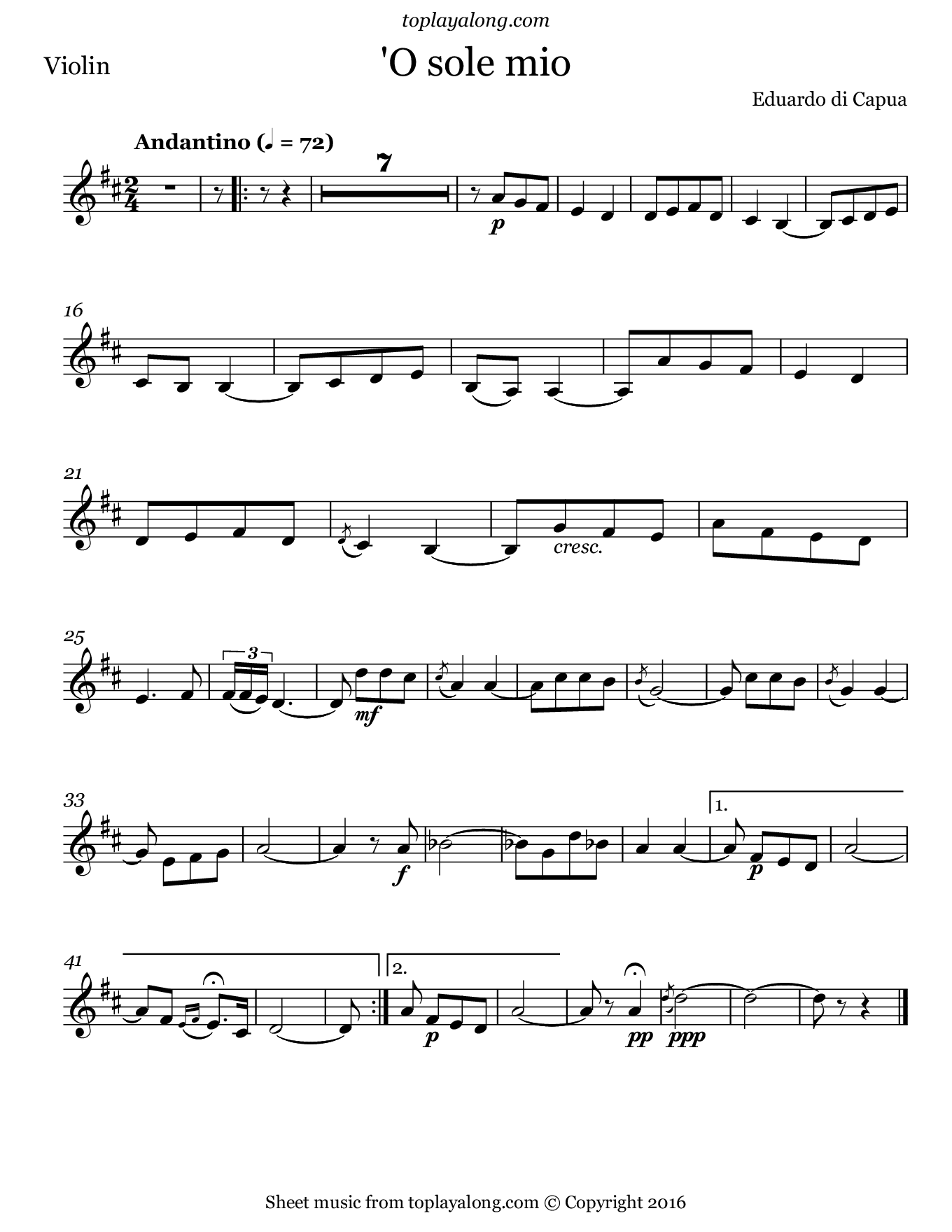 'O sole mio by Capua. Sheet music for Violin, page 1.