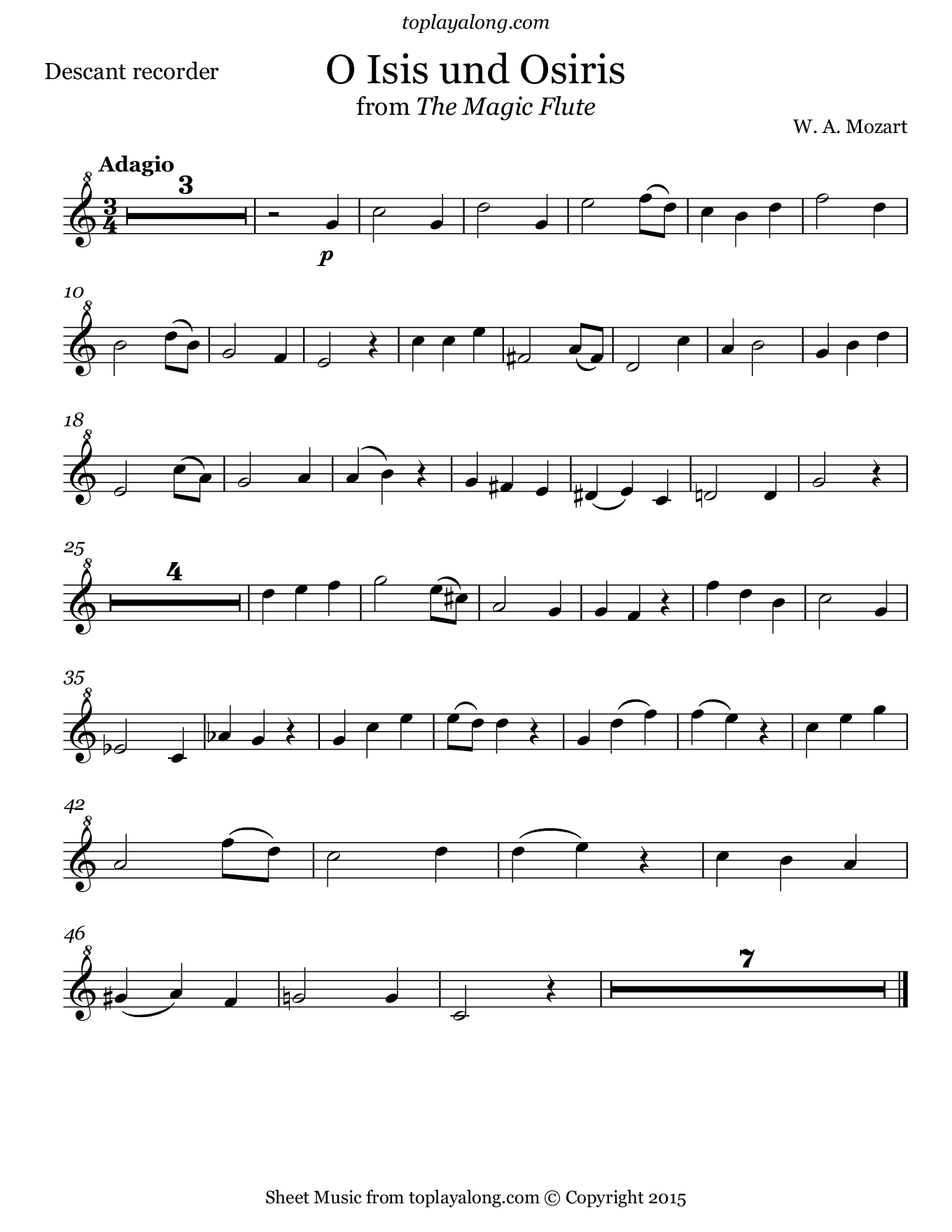 O Isis und Osiris by Mozart. Sheet music for Recorder, page 1.
