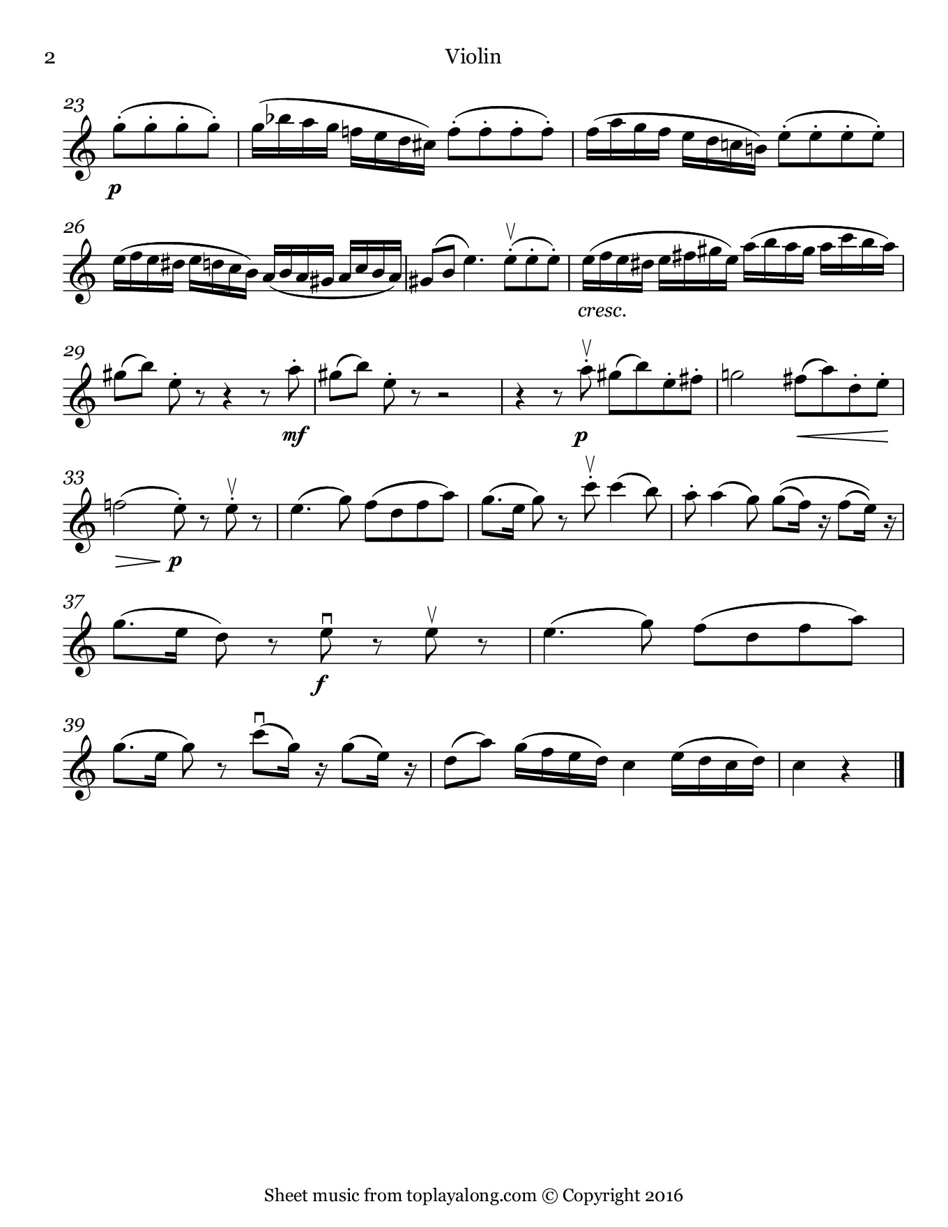 Romanze from Eine kleine Nachtmusik by Mozart. Sheet music for Violin, page 2.