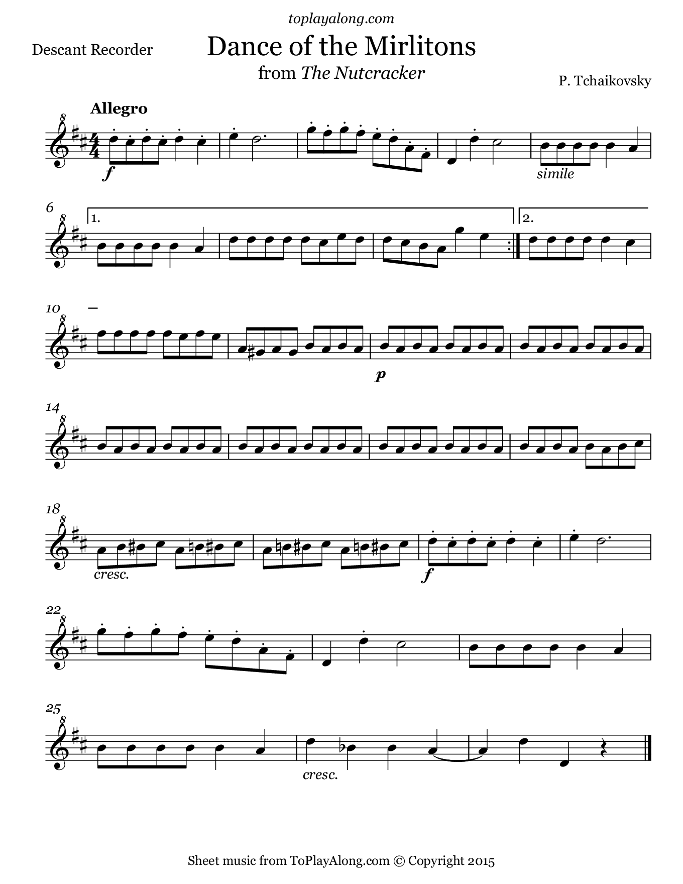 Dance of the Mirlitons from The Nutcracker by Tchaikovsky. Sheet music for Recorder, page 1.