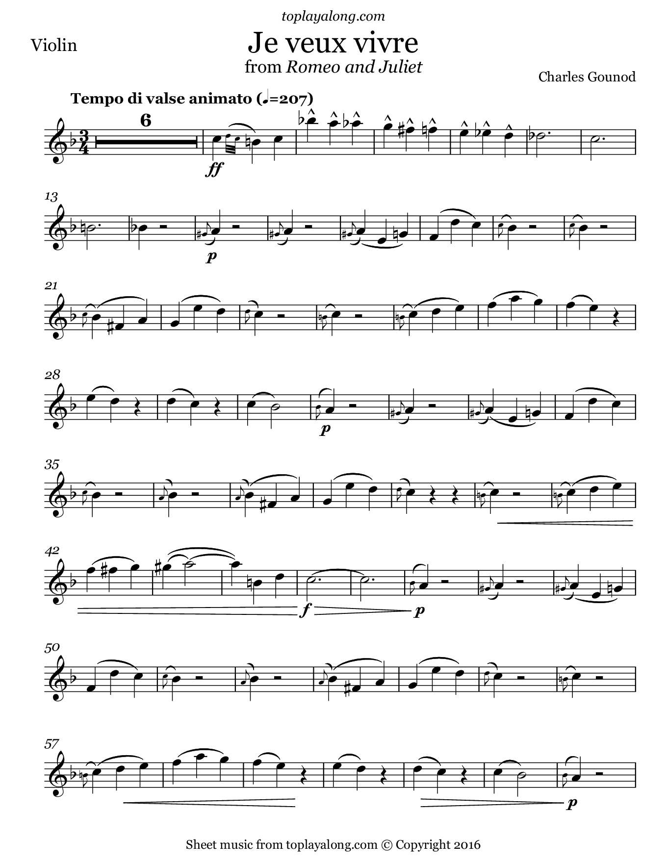 Je veux vivre from Romeo and Juliet by Gounod. Sheet music for Violin, page 1.