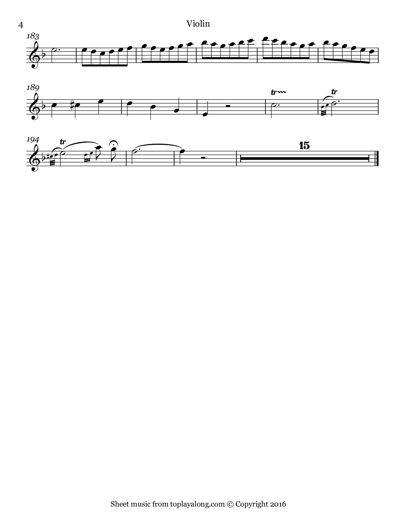 Je veux vivre from Romeo and Juliet by Gounod. Sheet music for Violin, page 4.