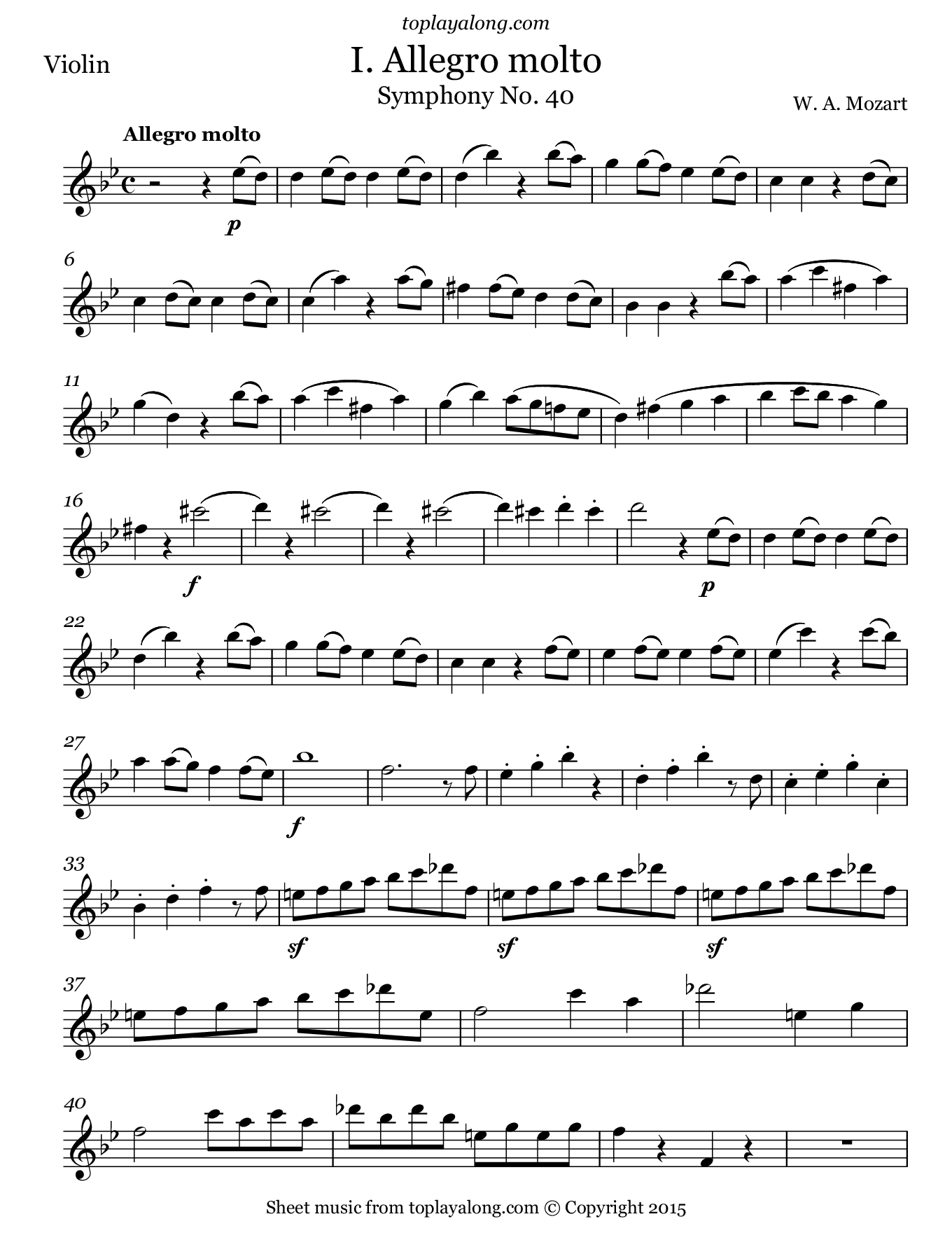 Symphony No. 40 (I. Allegro molto) by Mozart. Sheet music for Violin, page 1.