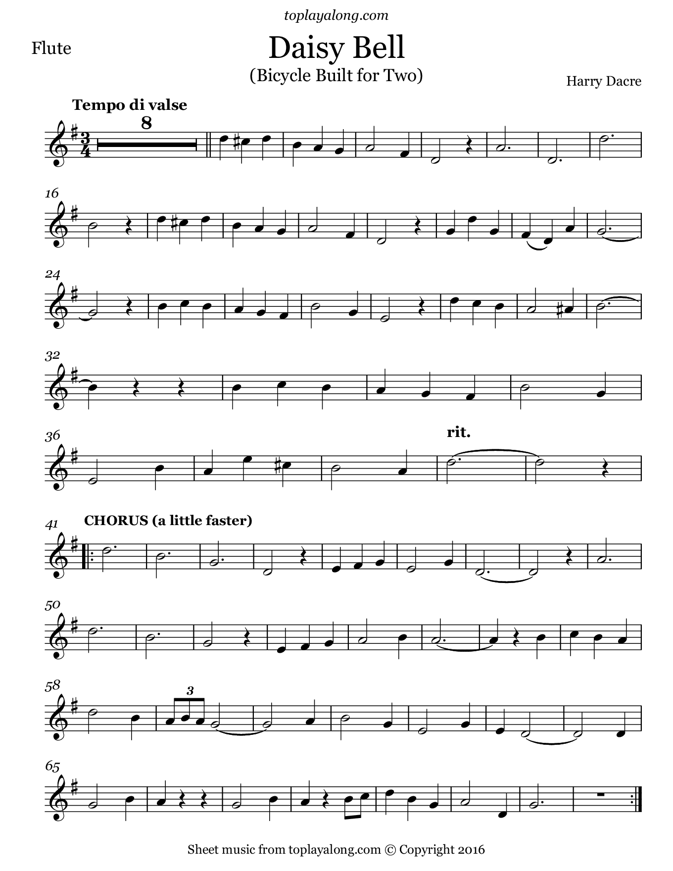 Daisy Bell (Bicycle Built for Two) by Dacre. Sheet music for Flute, page 1.