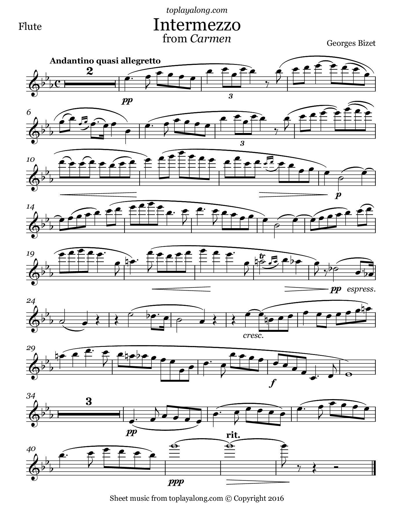 Intermezzo from Carmen by Bizet. Sheet music for Flute, page 1.