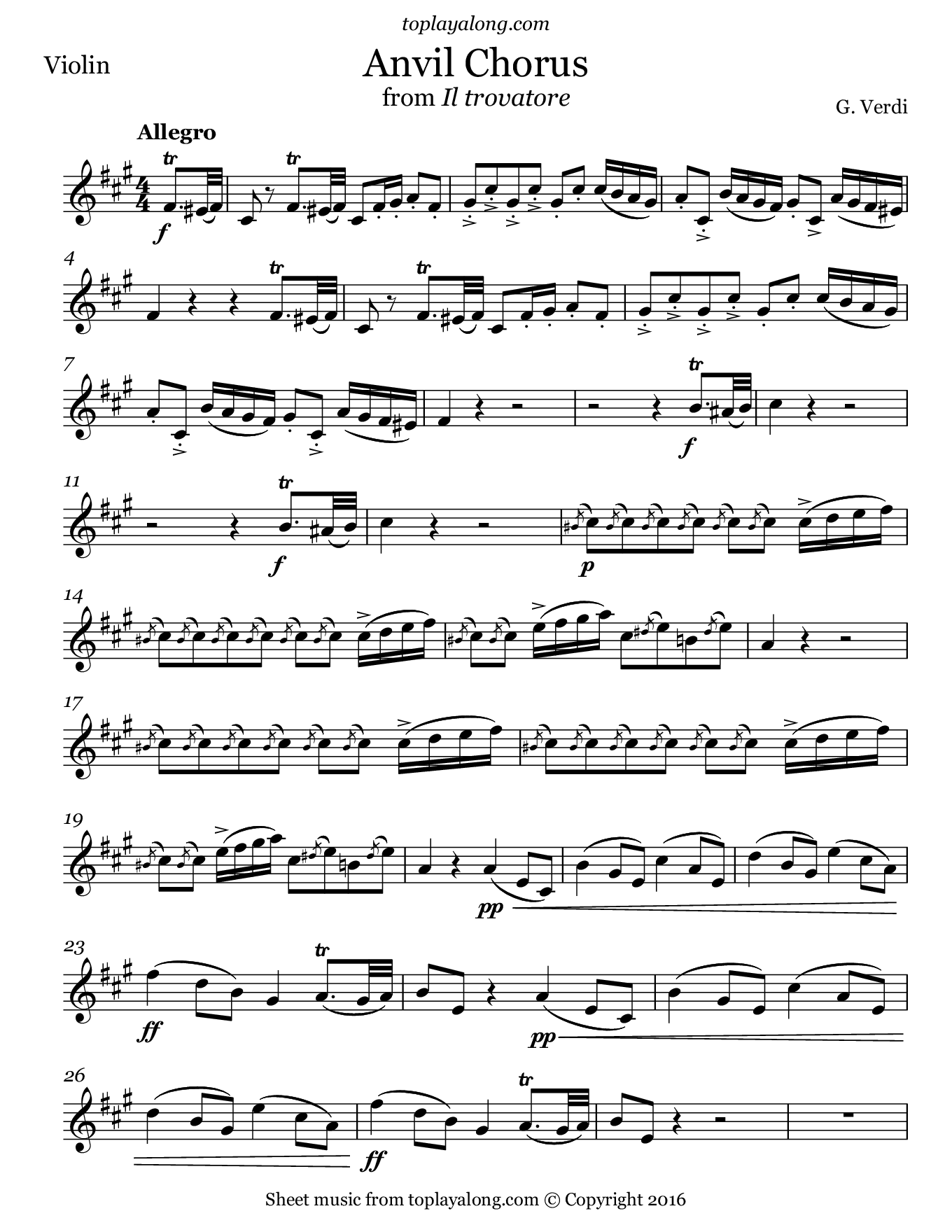 Anvil Chorus from Il trovatore by Verdi. Sheet music for Violin, page 1.