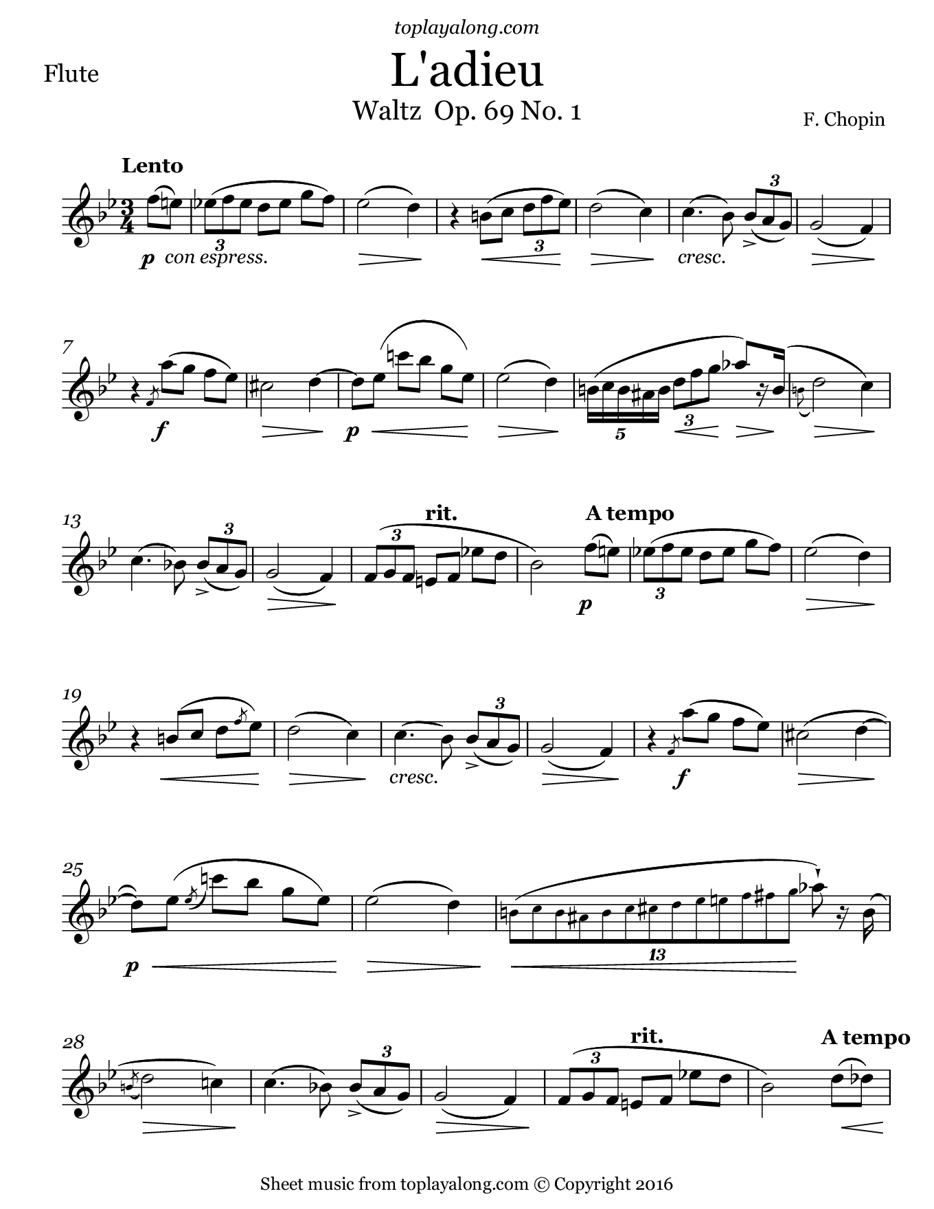 L'adieu Waltz Op. 69 No. 1 by Chopin. Sheet music for Flute, page 1.