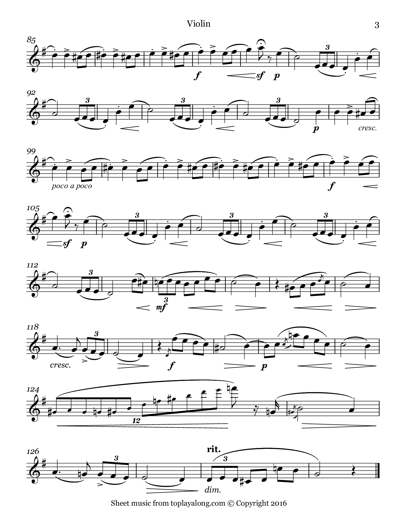 L'adieu Waltz Op. 69 No. 1 by Chopin. Sheet music for Violin, page 3.