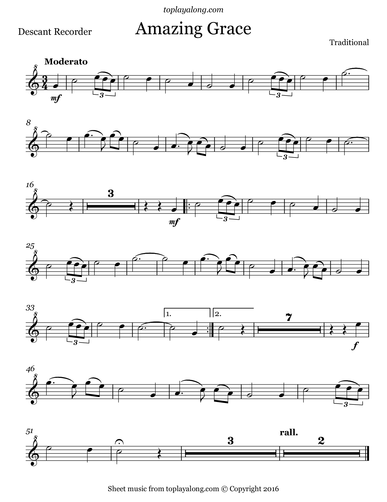 Amazing Grace. Sheet music for Recorder, page 1.