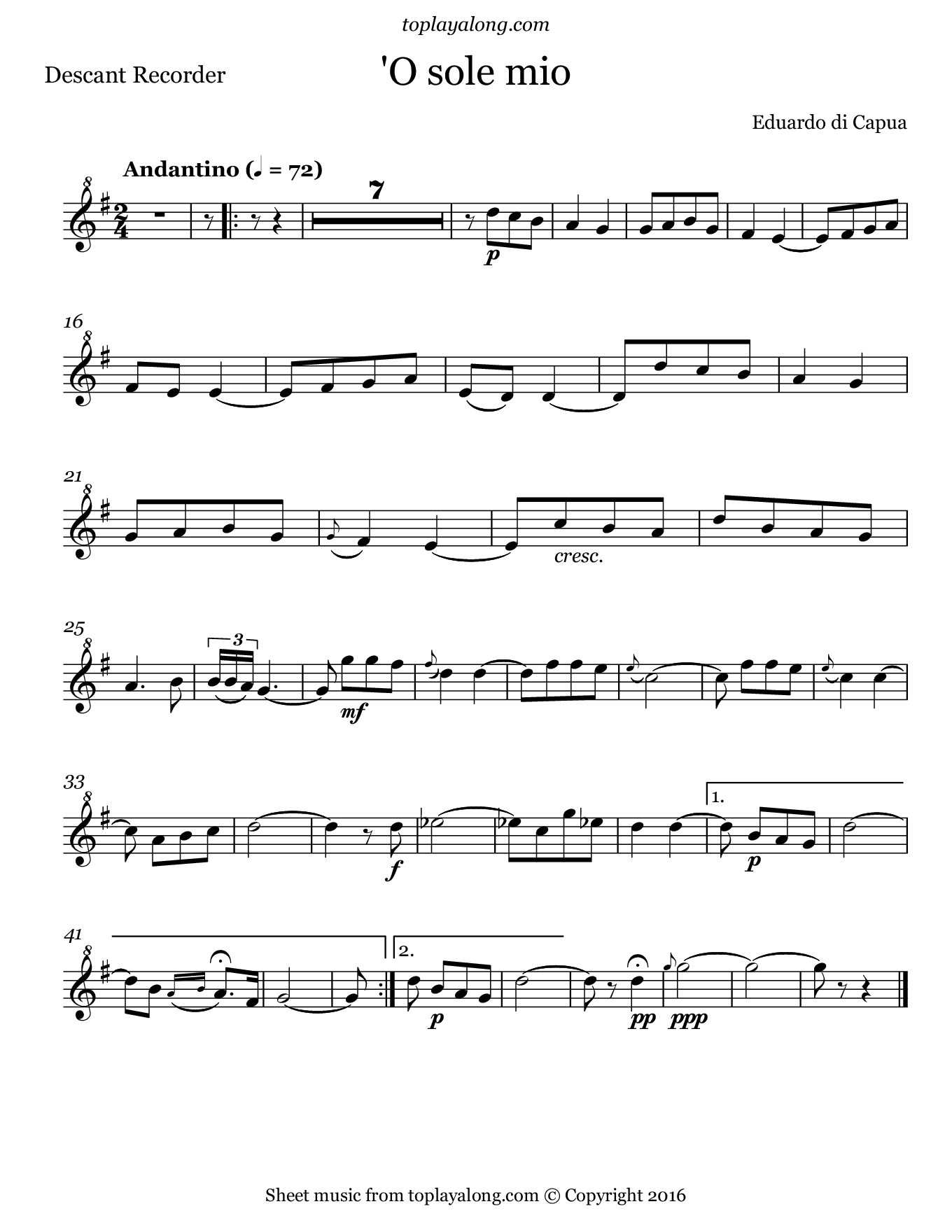 'O sole mio by Capua. Sheet music for Recorder, page 1.