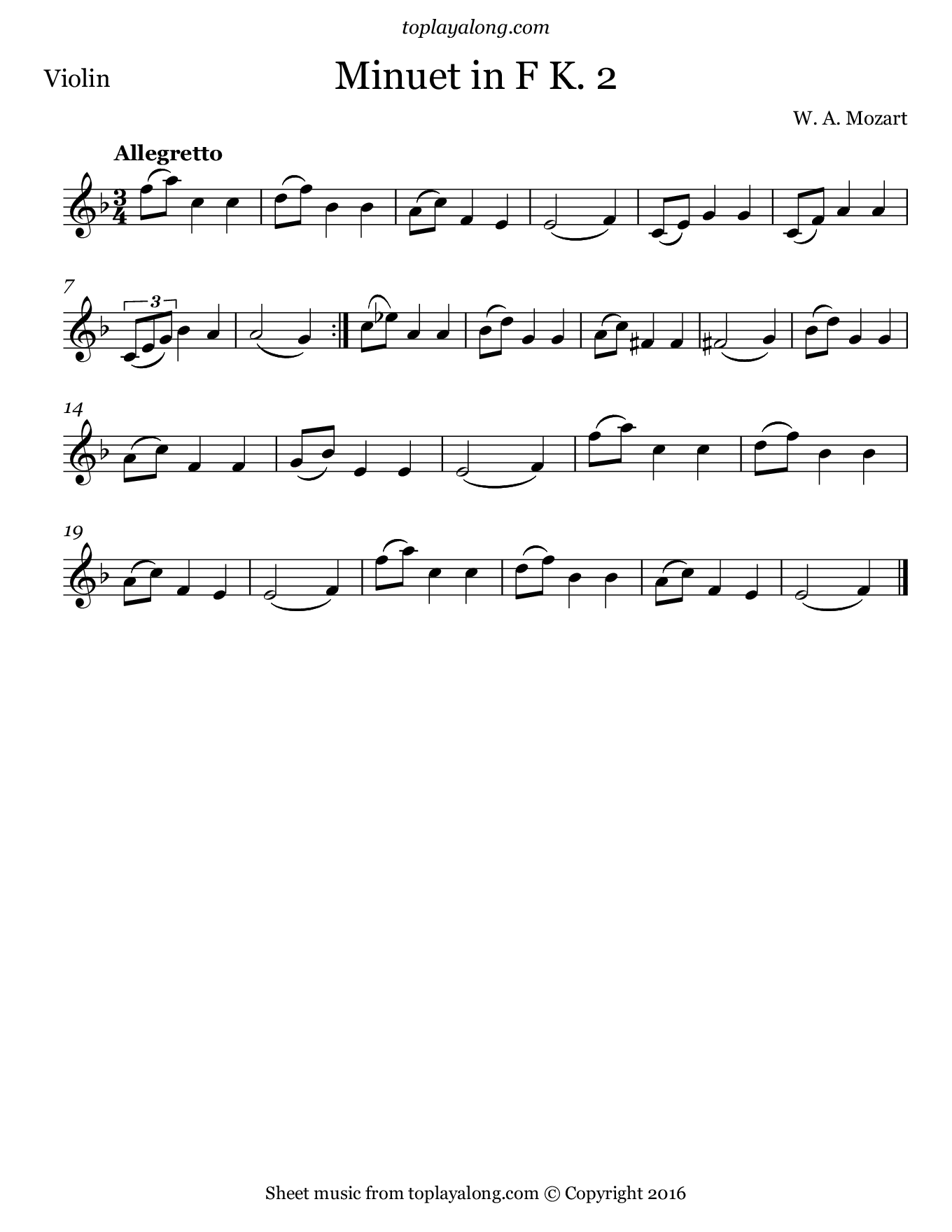 Minuet in F K. 2 by Mozart. Sheet music for Violin, page 1.