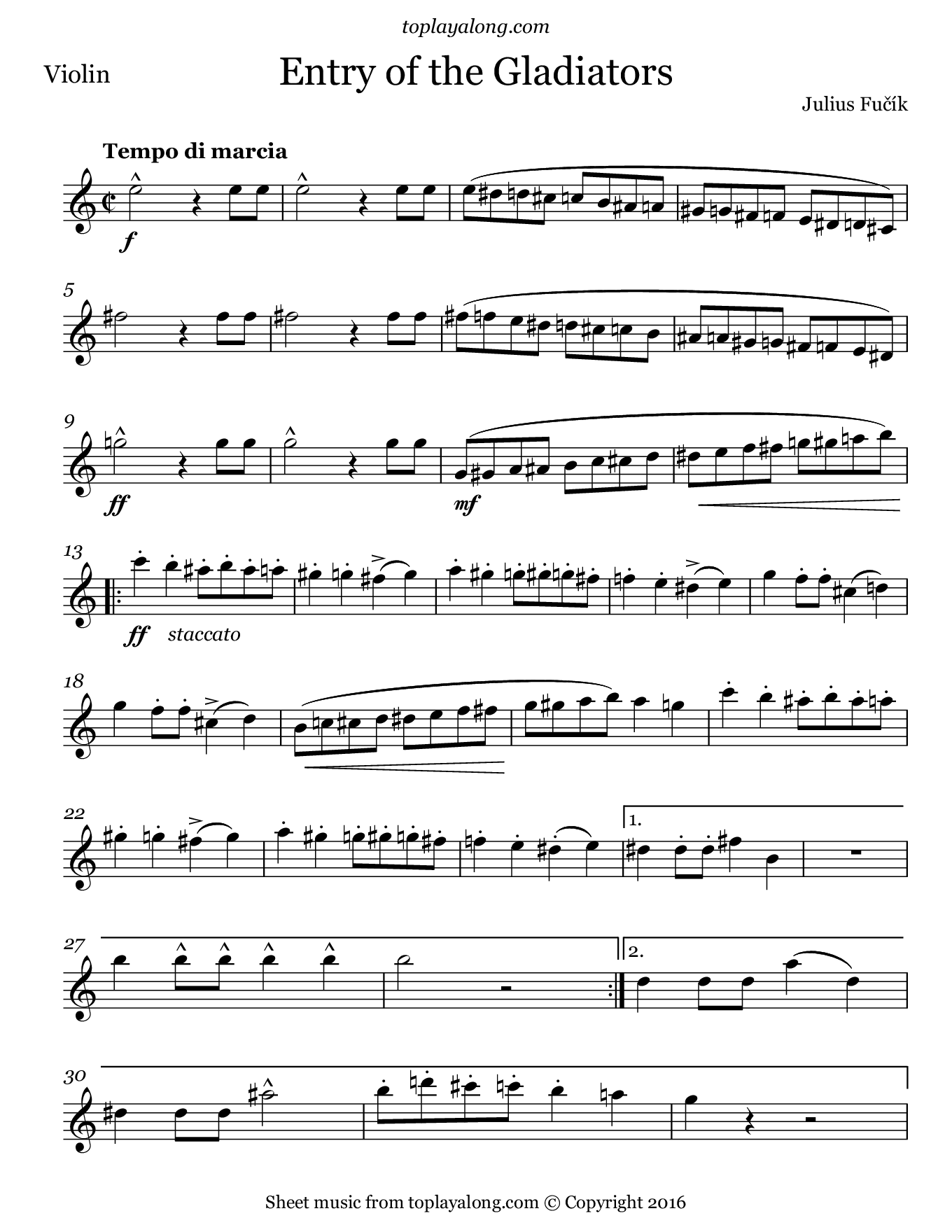 Entry of the Gladiators by Fučík. Sheet music for Violin, page 1.