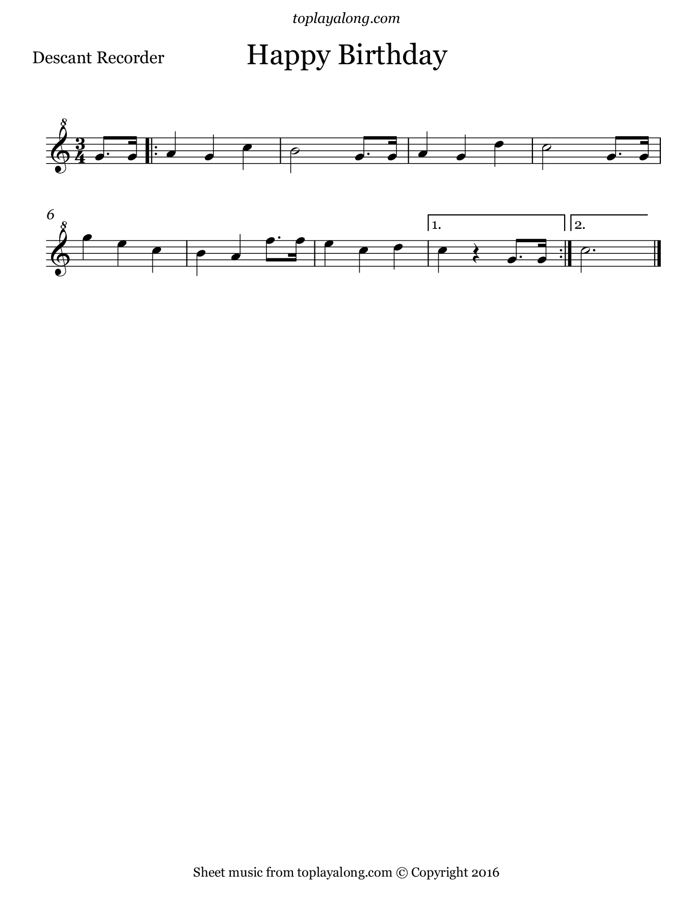 Happy Birthday. Sheet music for Recorder, page 1.