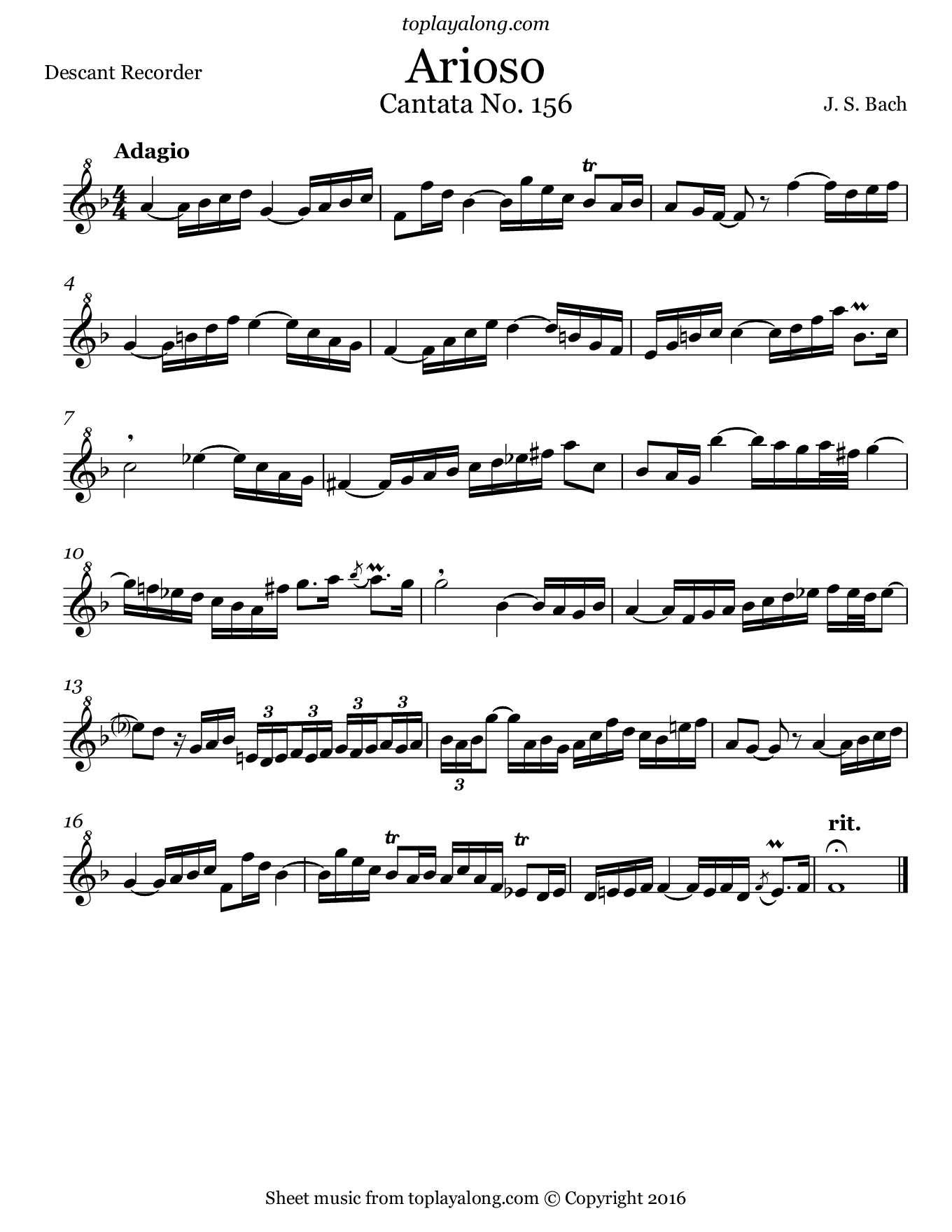 Arioso from Cantata BWV 156 by J. S. Bach. Sheet music for Recorder, page 1.
