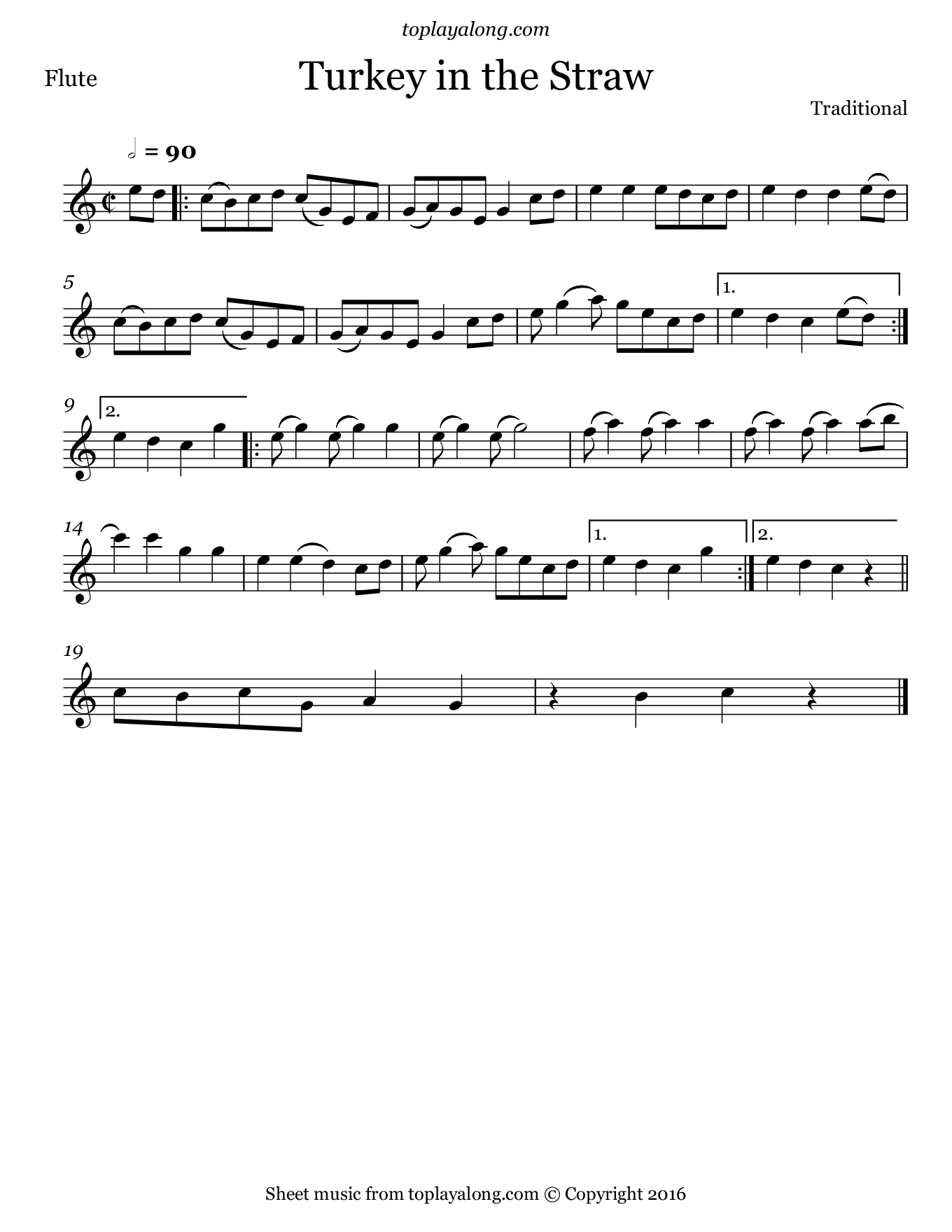 Turkey in the Straw. Sheet music for Flute, page 1.