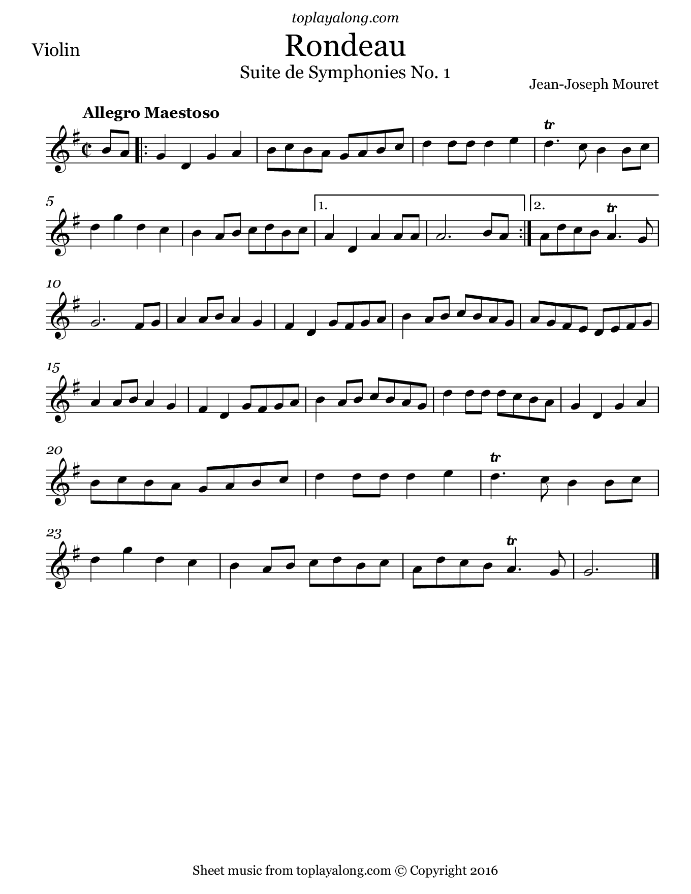 Rondeau from Suites de Symphonies by Mouret. Sheet music for Violin, page 1.