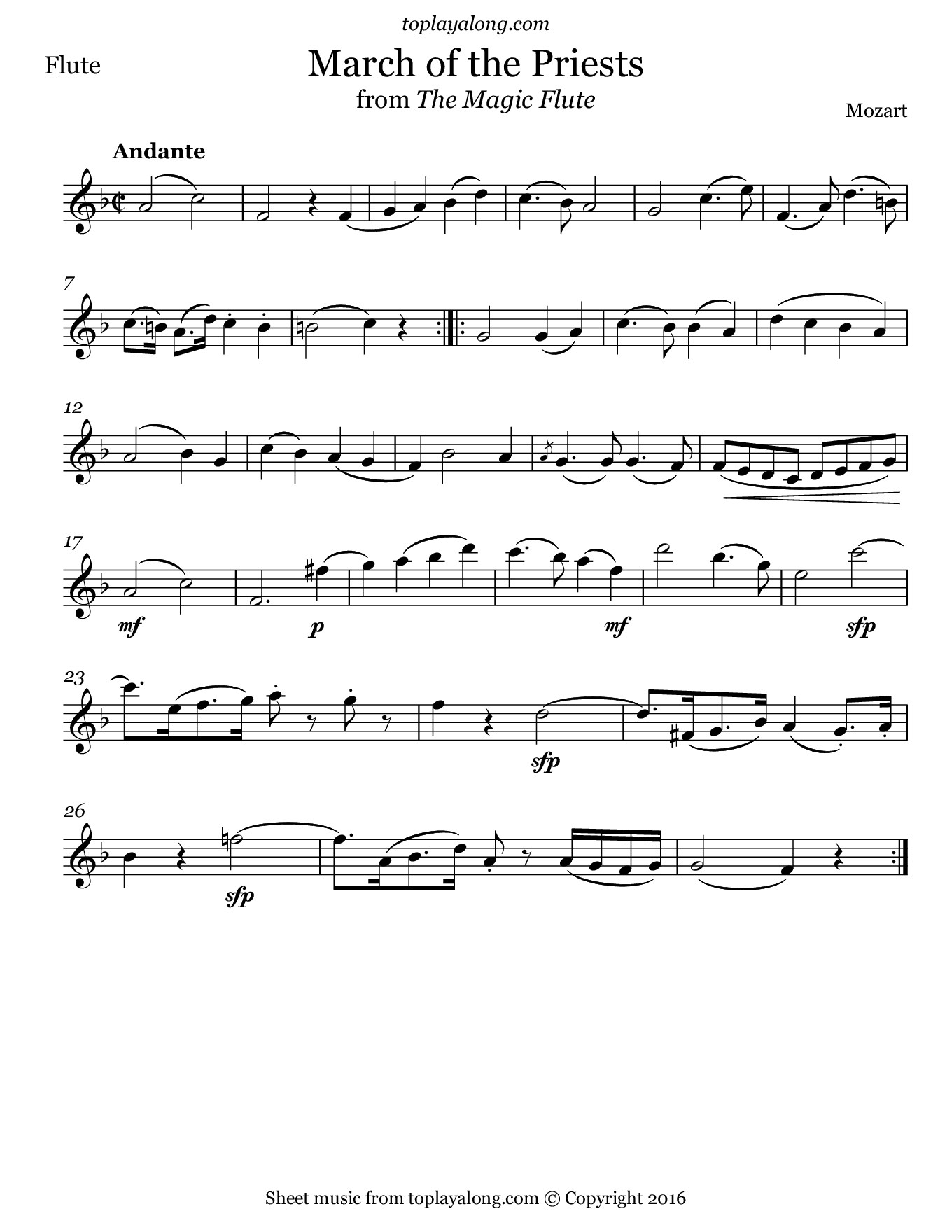 March of the Priests from The Magic Flute by Mozart. Sheet music for Flute, page 1.