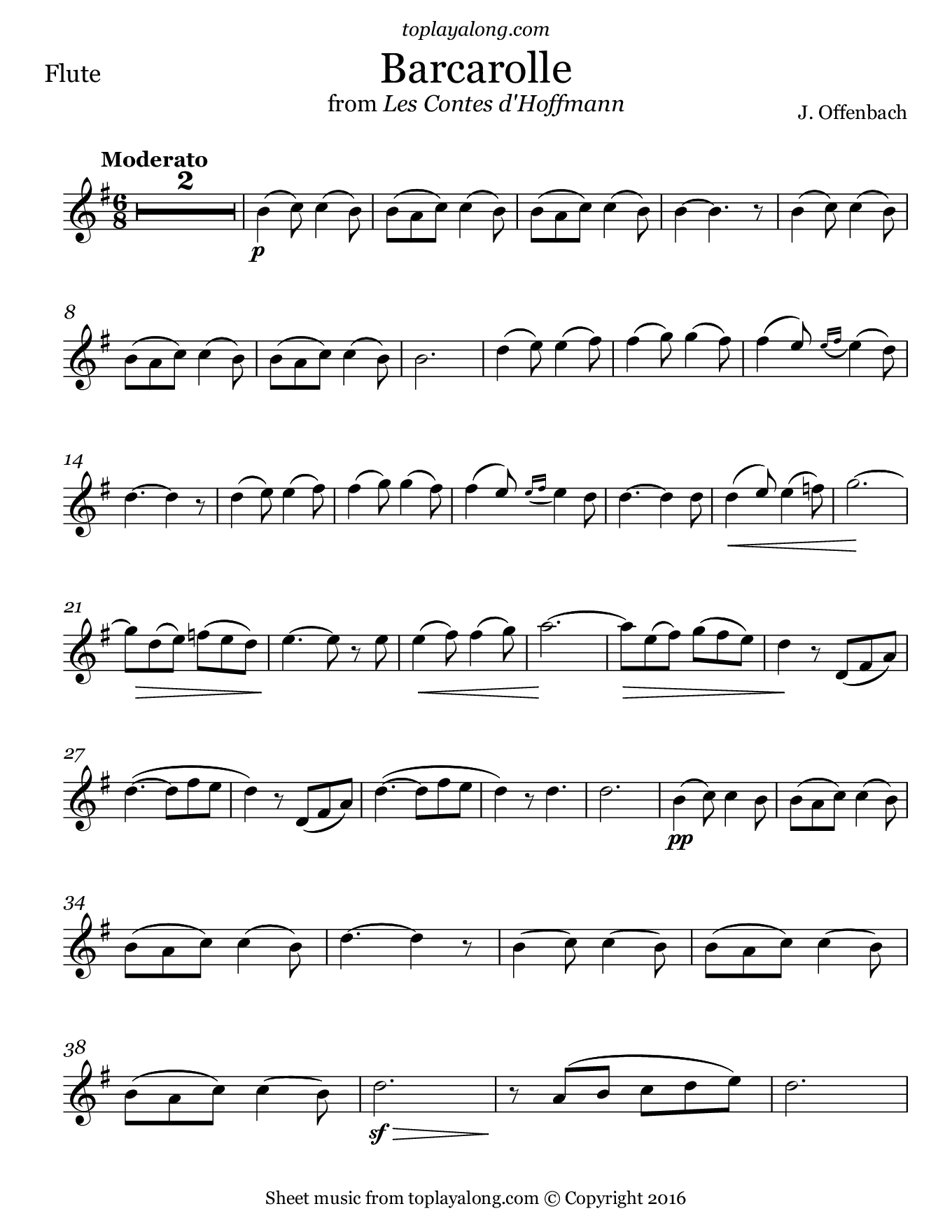 Barcarolle from The Tales of Hoffmann by Offenbach. Sheet music for Flute, page 1.