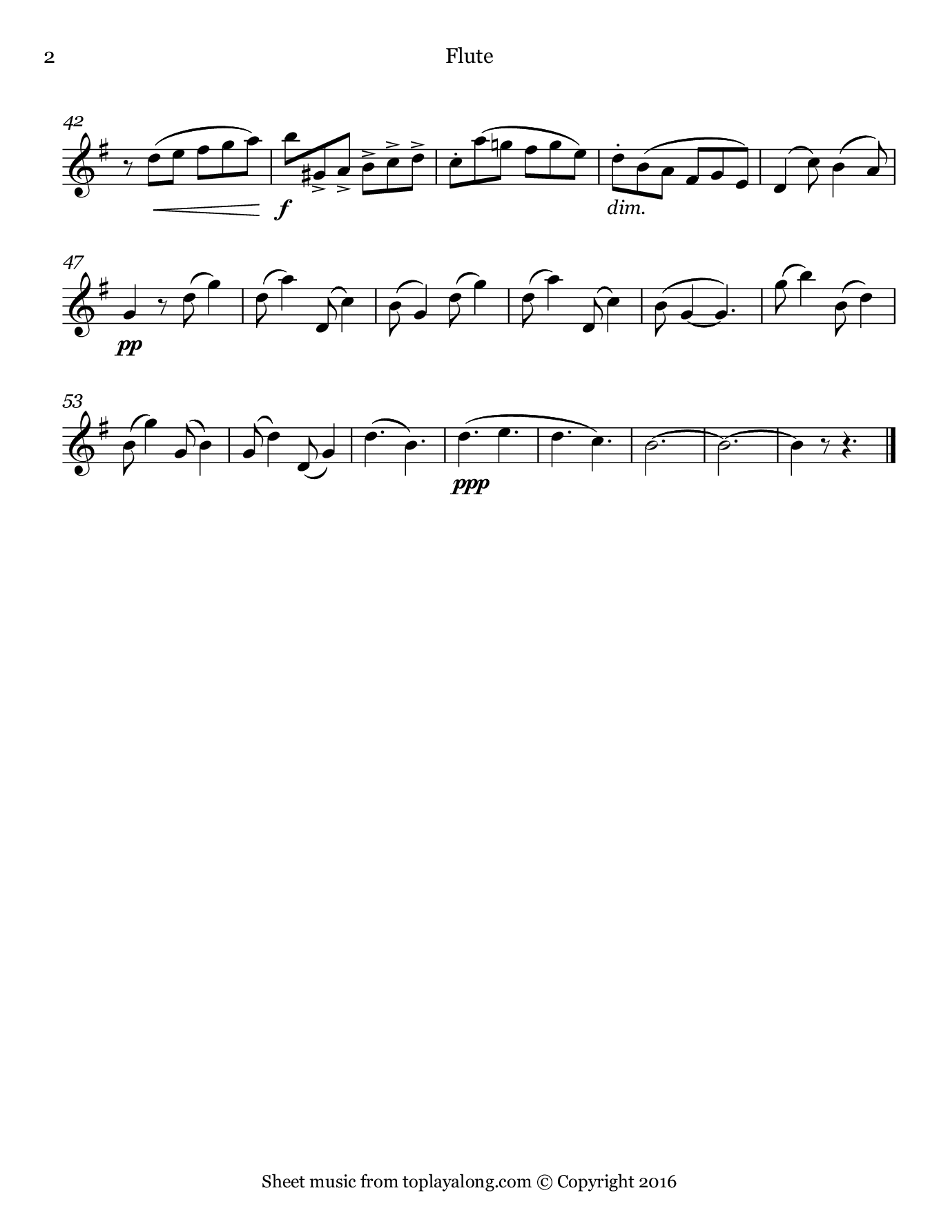 Barcarolle from The Tales of Hoffmann by Offenbach. Sheet music for Flute, page 2.